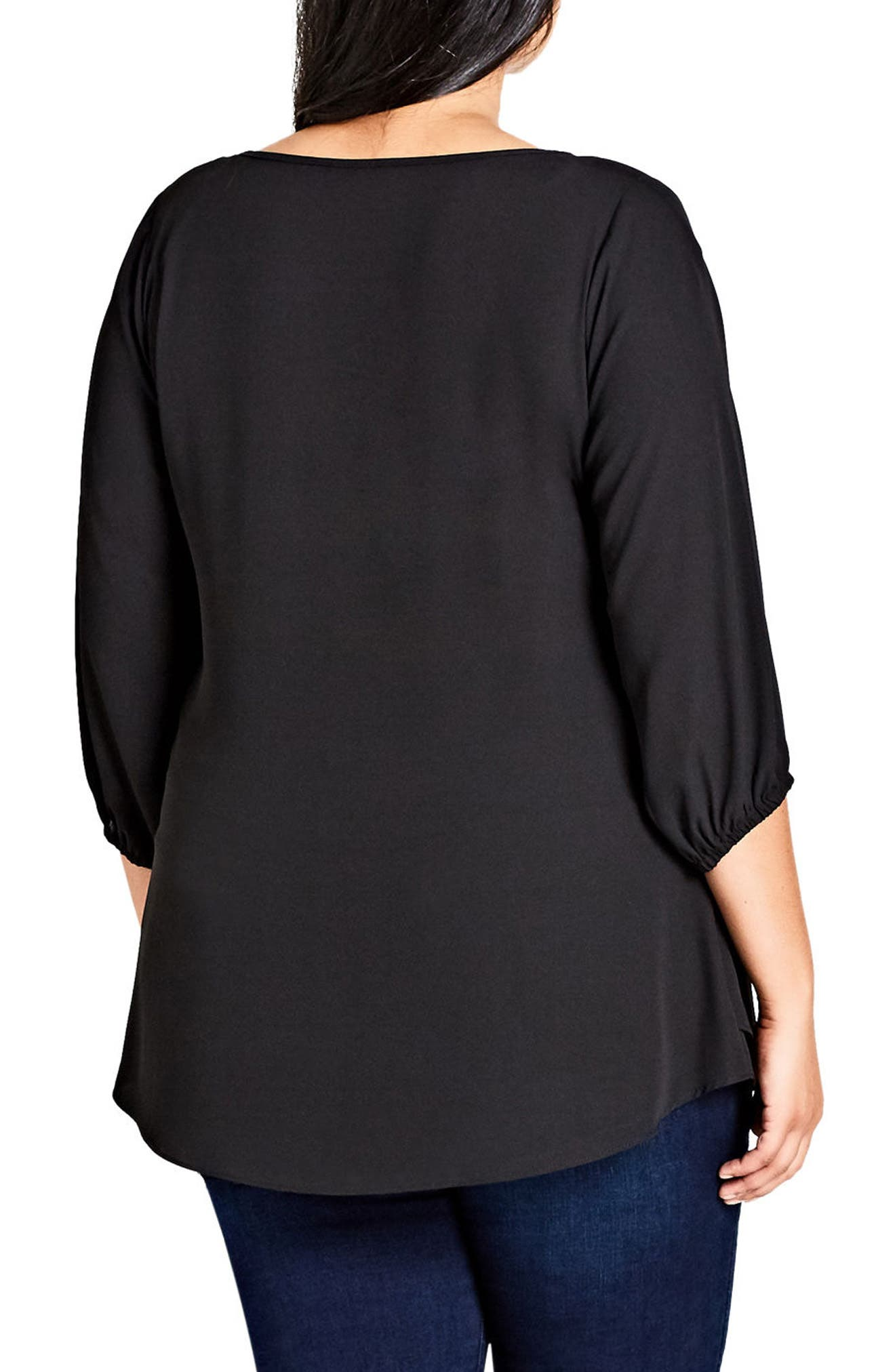 CITY CHIC, Sexy Fling Zip Front Top, Alternate thumbnail 2, color, 001