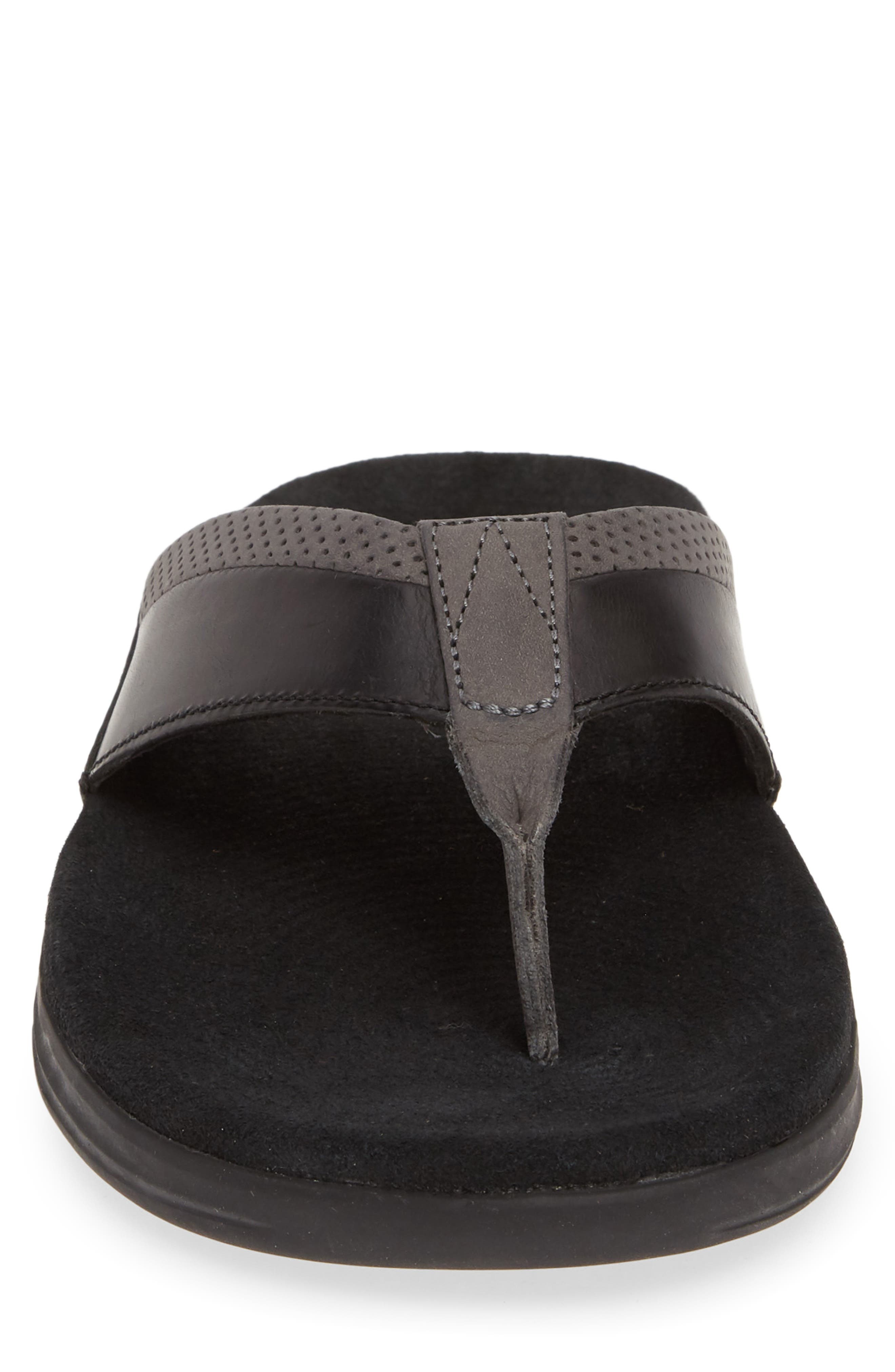 SPERRY, Gold Cup Amalfi Flip Flop, Alternate thumbnail 4, color, BLACK/ GREY LEATHER