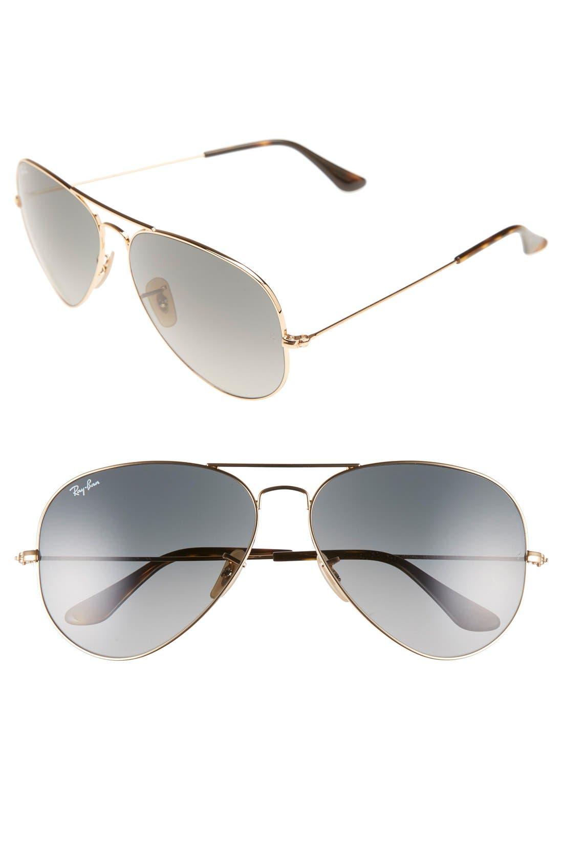 RAY-BAN, 'Org Aviator' 62mm Sunglasses, Main thumbnail 1, color, GOLD/ GREY GRADIENT
