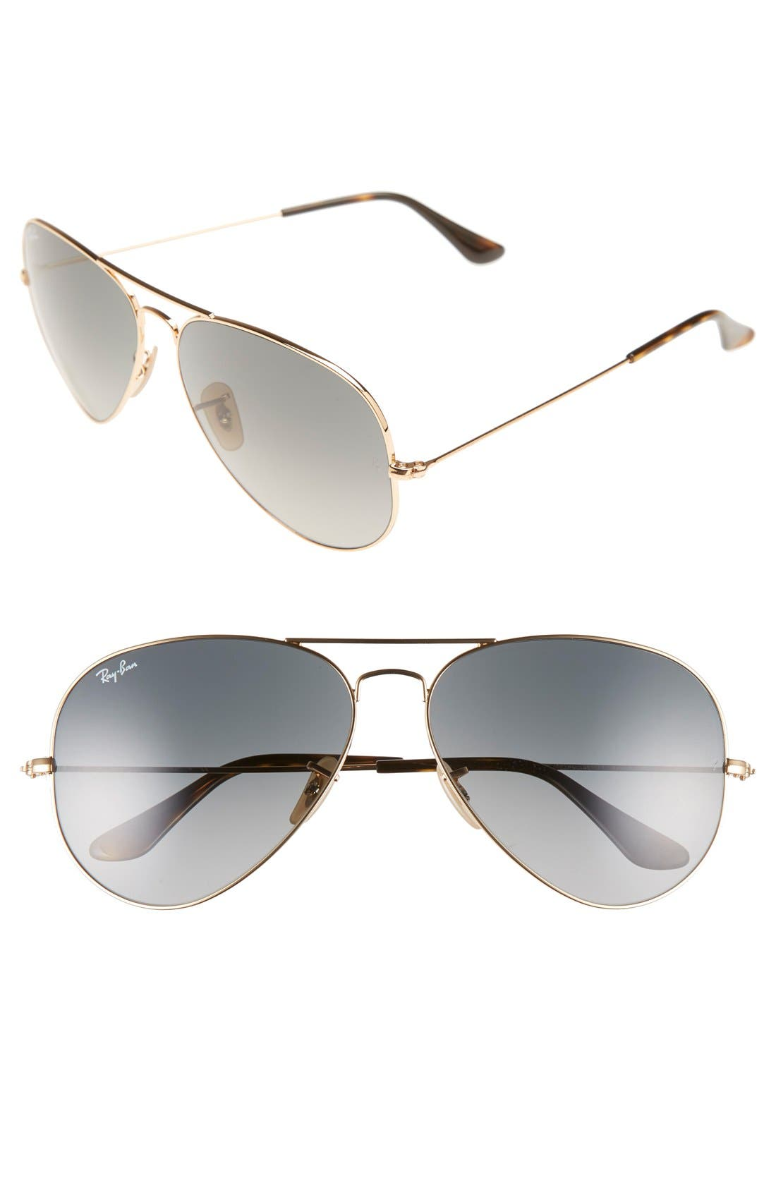 RAY-BAN 'Org Aviator' 62mm Sunglasses, Main, color, GOLD/ GREY GRADIENT