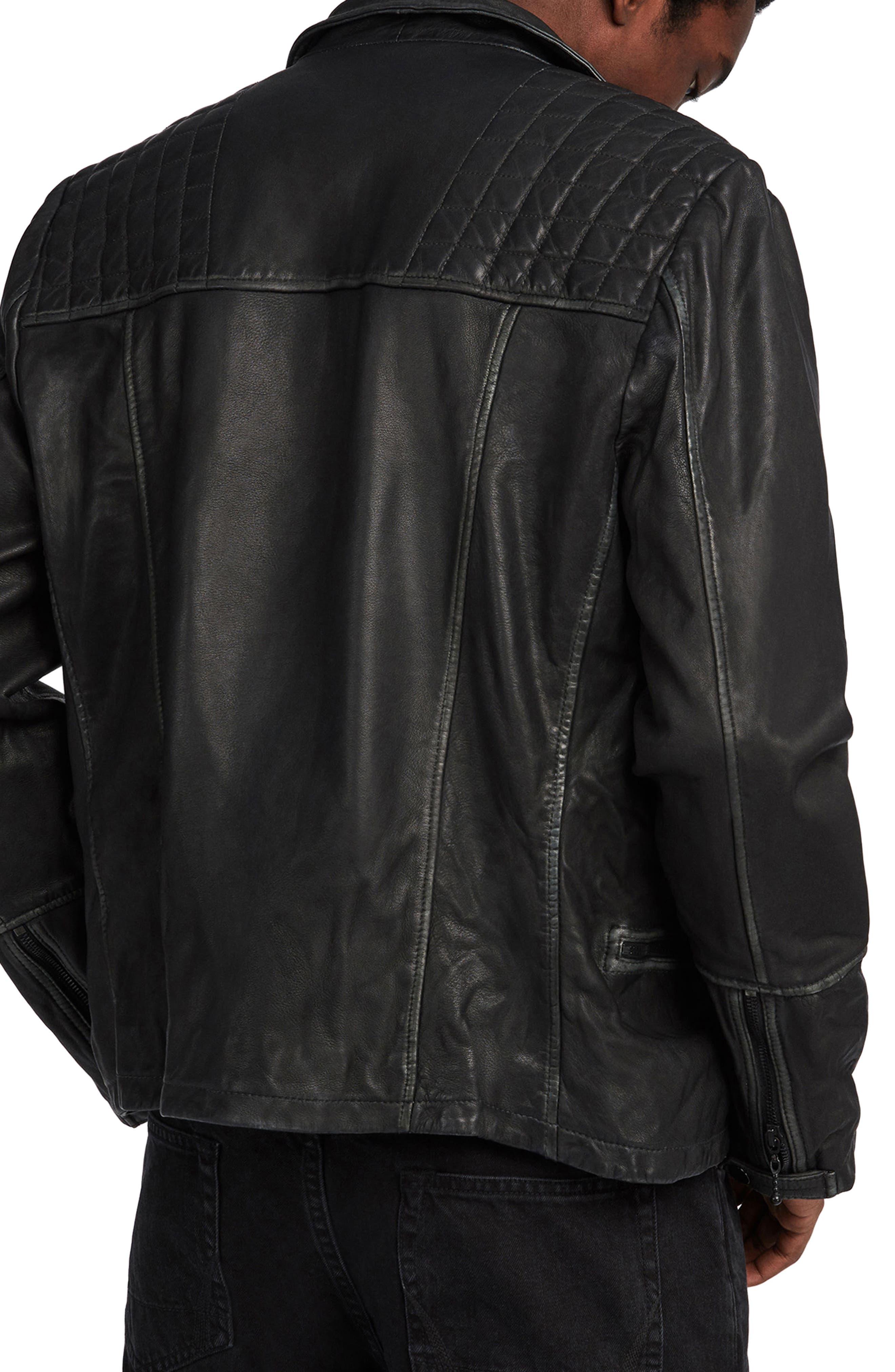 ALLSAINTS, Cargo Biker Slim Fit Leather Jacket, Alternate thumbnail 2, color, BLACK GREY
