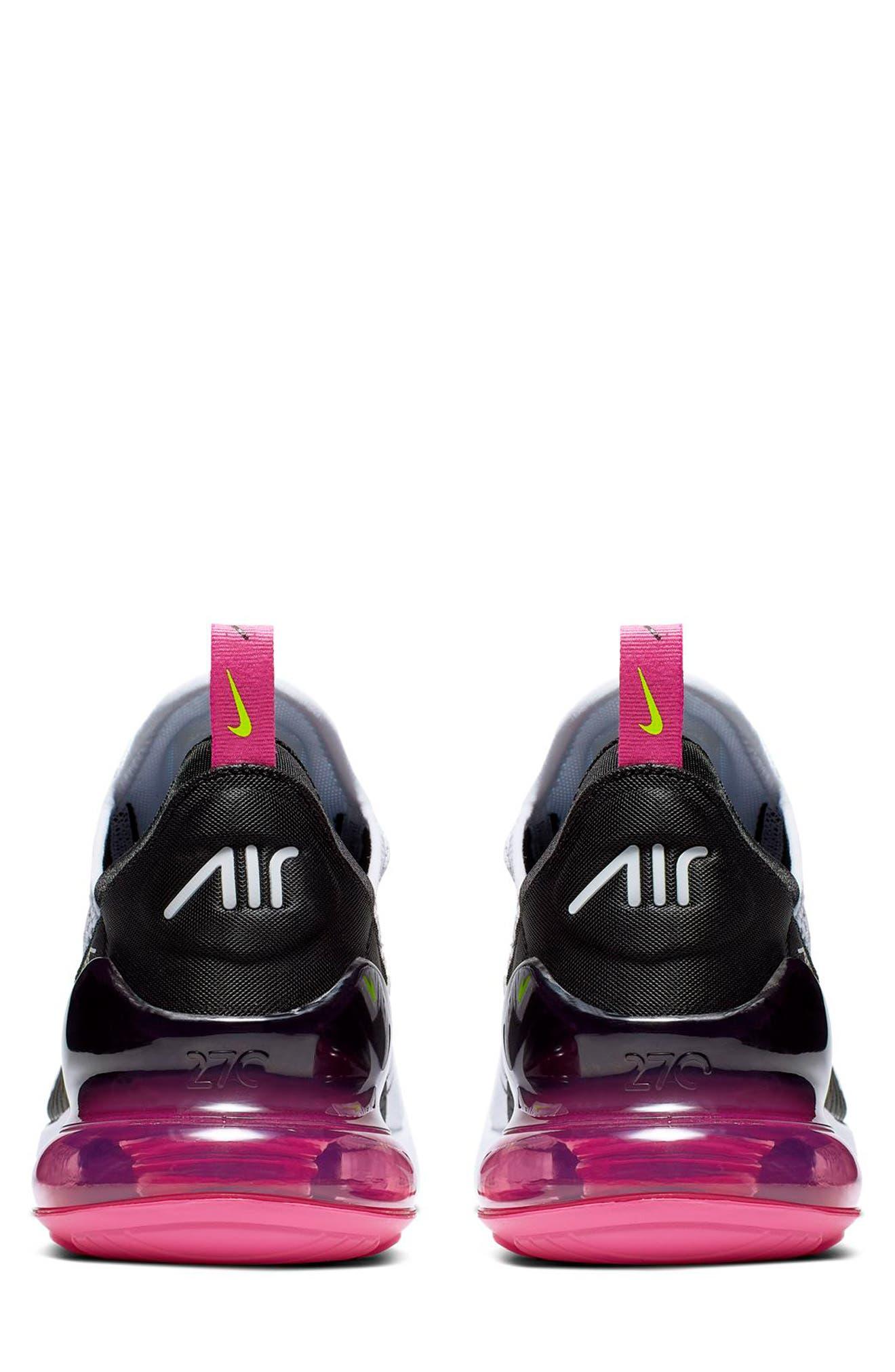 NIKE, Air Max 270 Sneaker, Alternate thumbnail 5, color, WHITE/ VOLT/ BLACK/ FUCHSIA