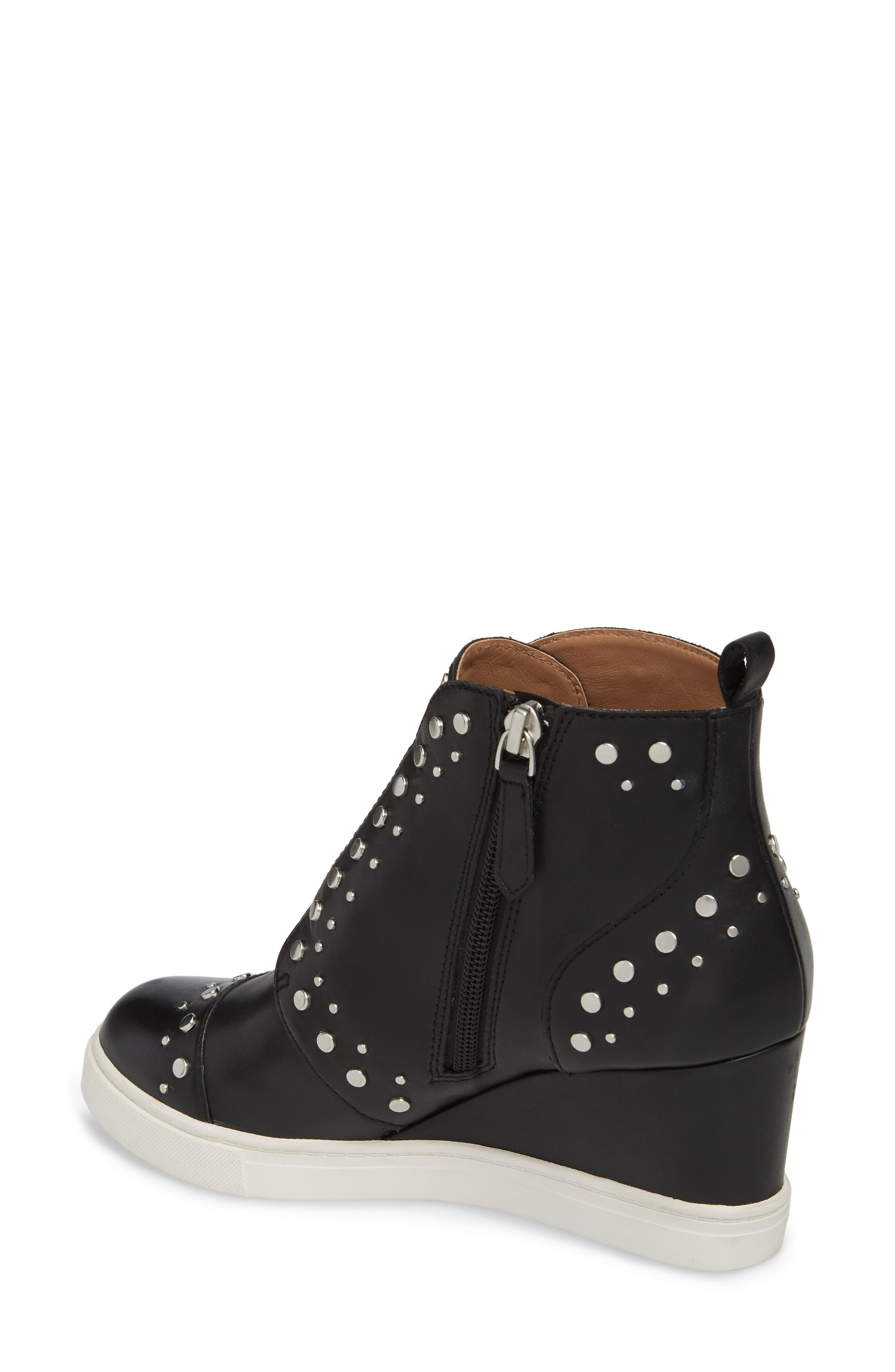 LINEA PAOLO, Felicity Wedge Sneaker, Alternate thumbnail 2, color, BLACK LEATHER