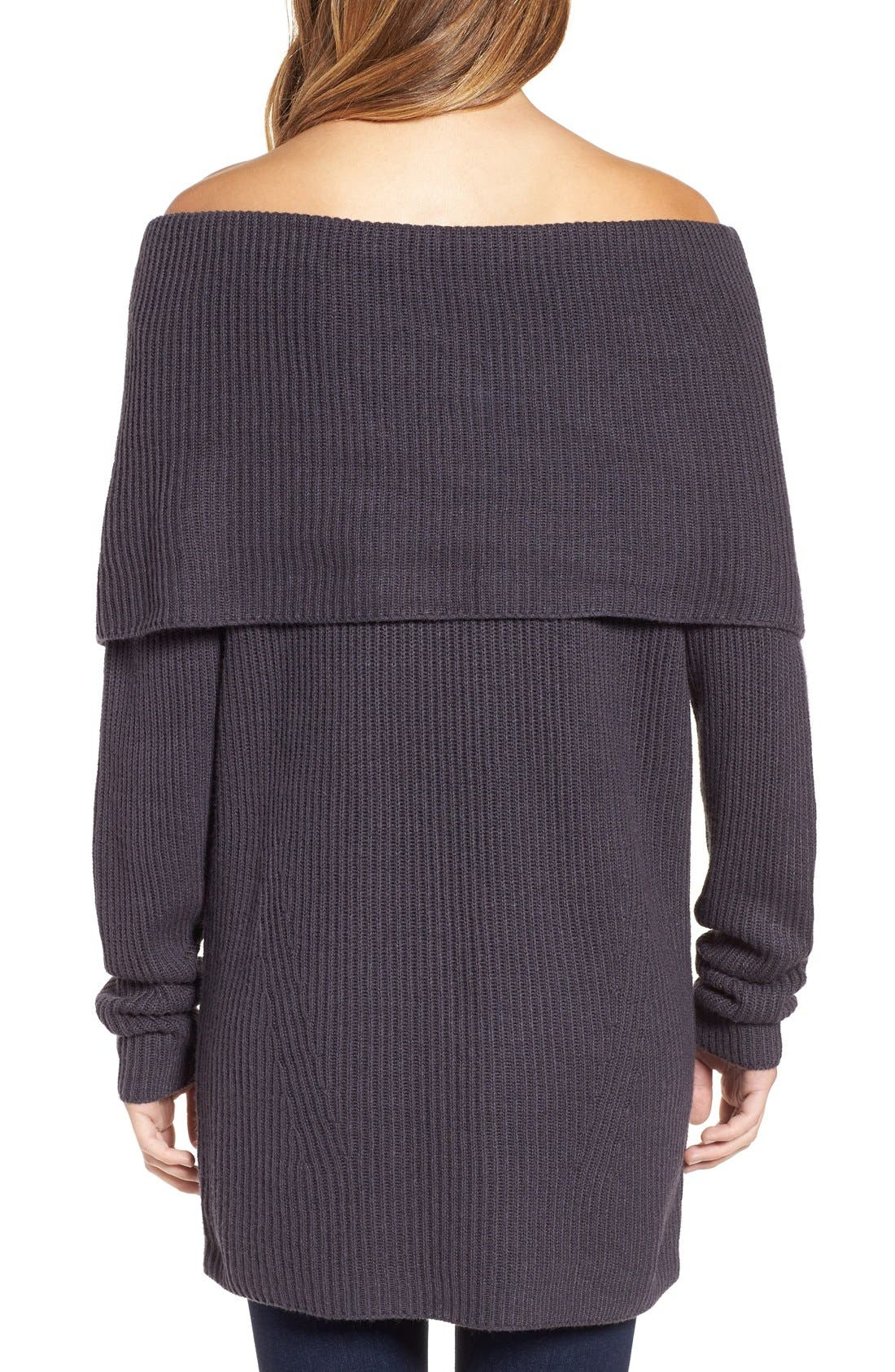 LEITH, Off the Shoulder Knit Sweater, Alternate thumbnail 5, color, 021