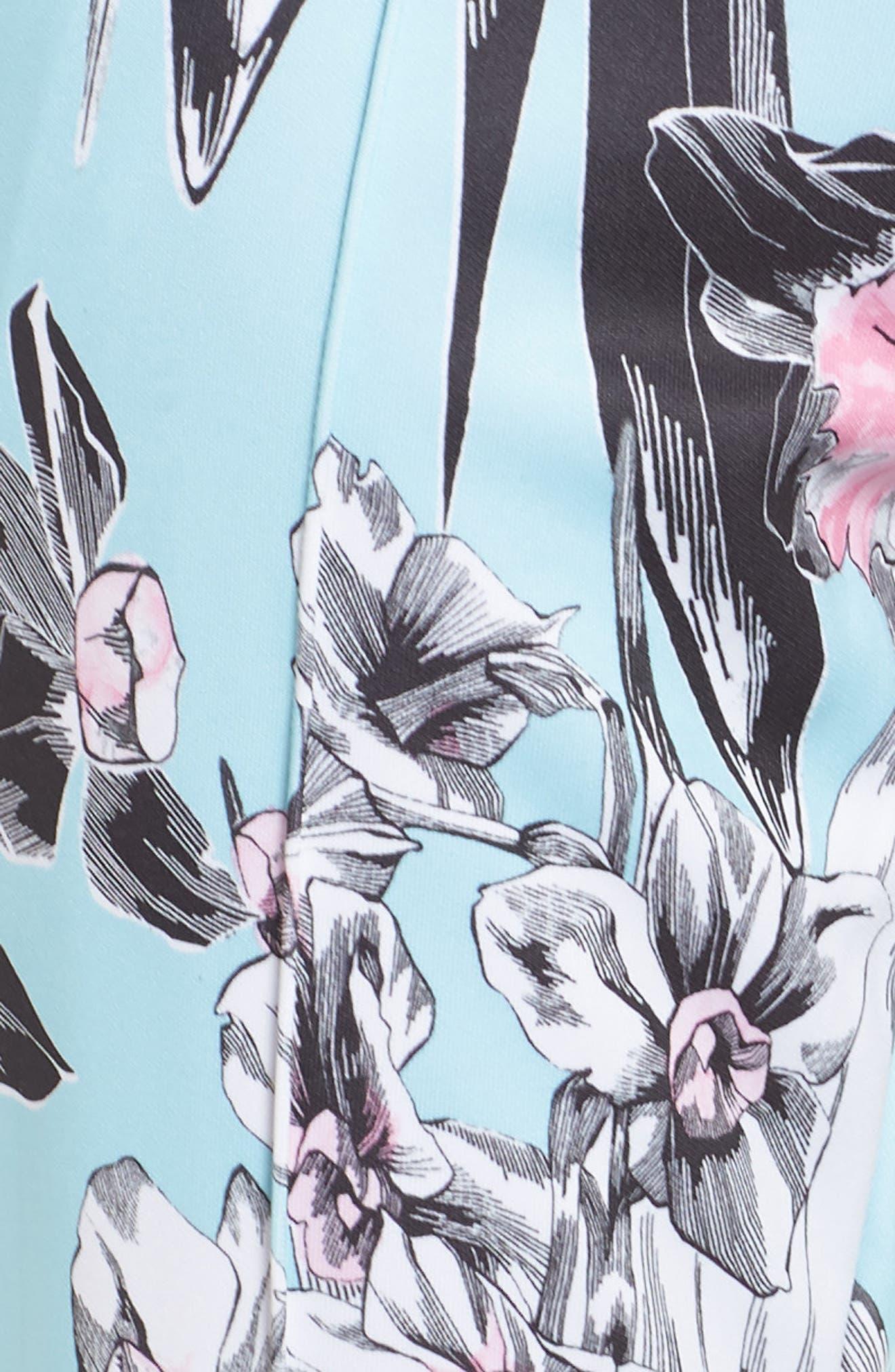 NIKE, Sportswear Floral Print Pants, Alternate thumbnail 7, color, TOPAZ MIST/ WHITE/ WHITE