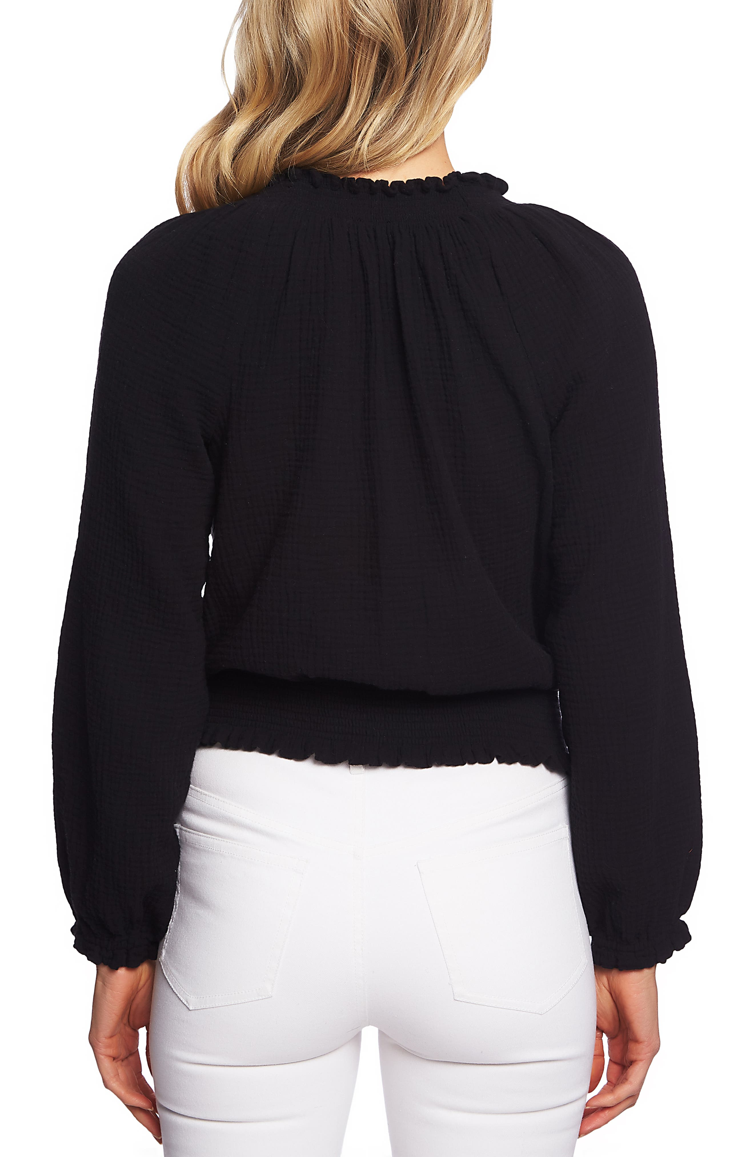 1.STATE, Smocked Top, Alternate thumbnail 2, color, RICH BLACK