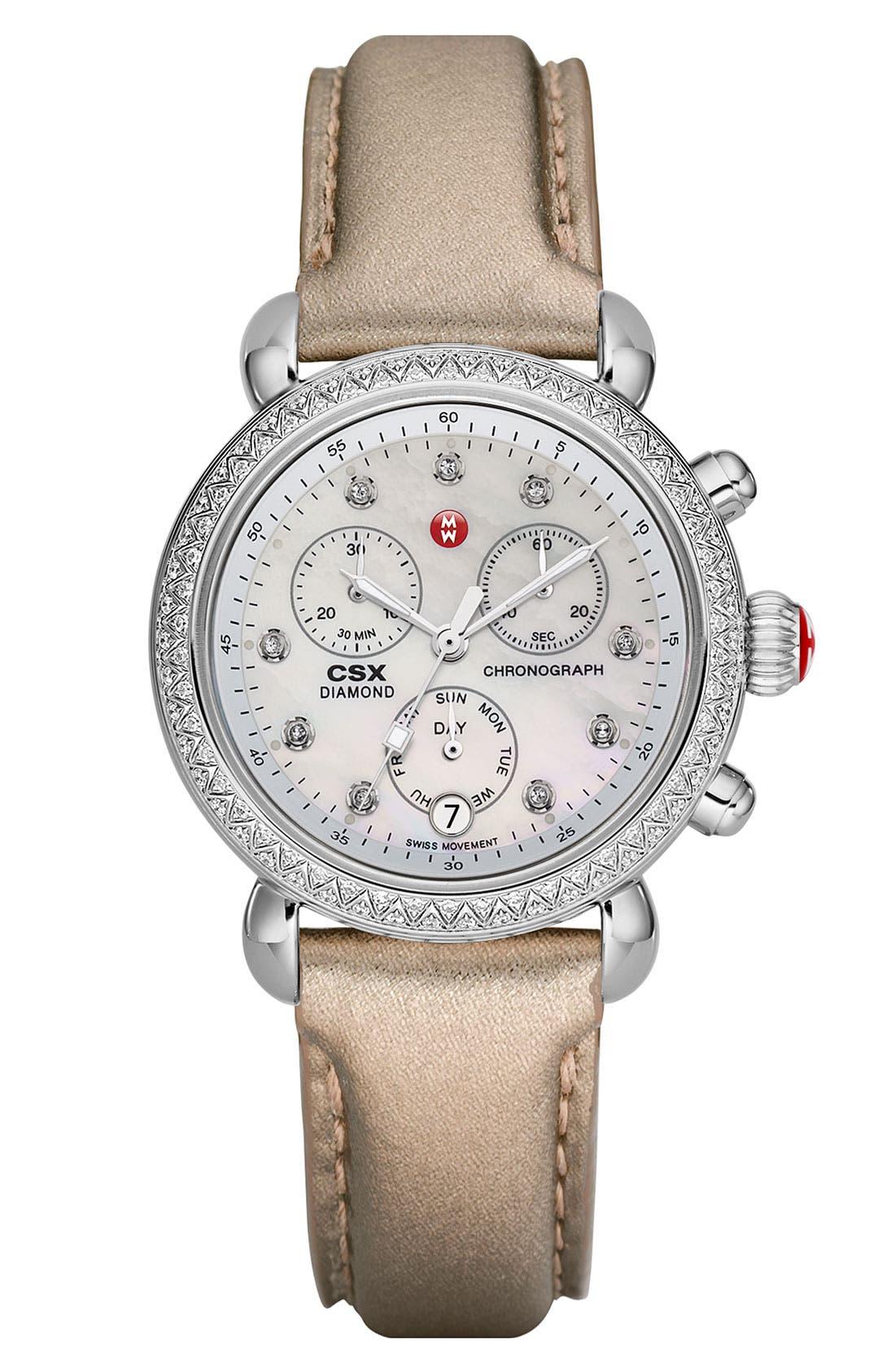 MICHELE, 'CSX-36 Diamond' Diamond Dial Two Tone Watch Case, 36mm, Alternate thumbnail 3, color, 040