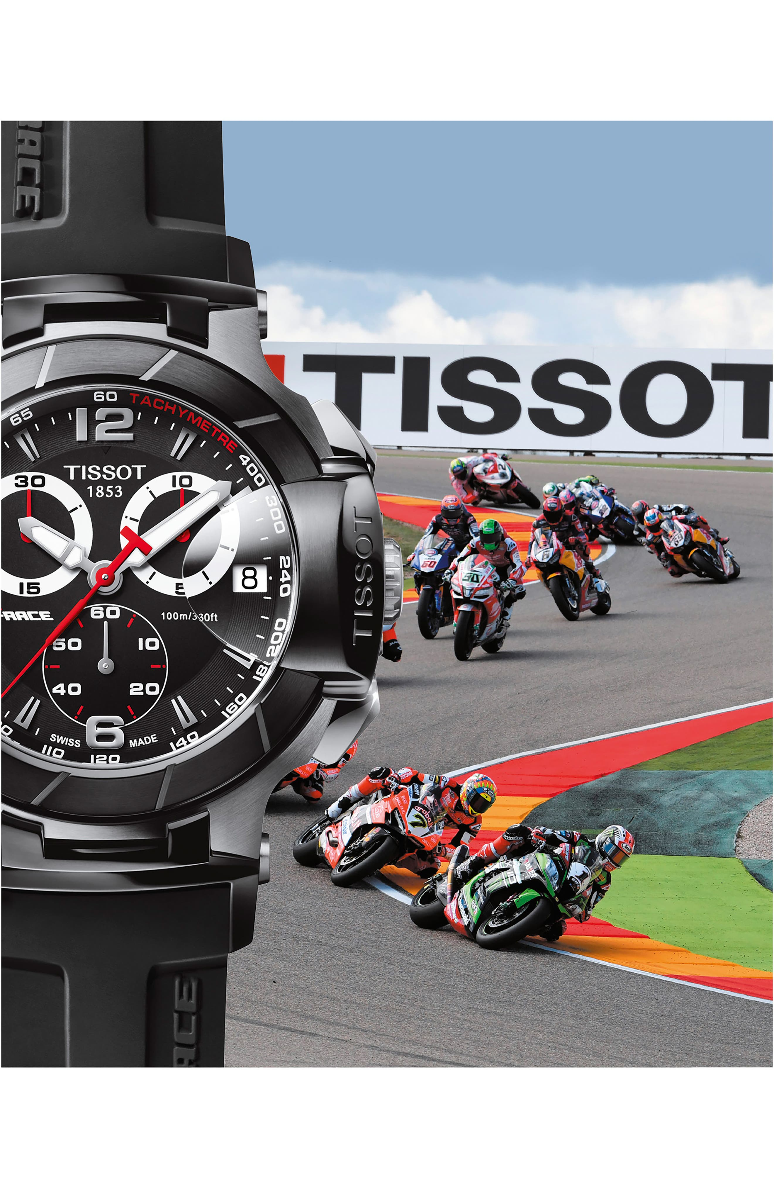 TISSOT, T-Race Chronograph Silicone Strap Watch, 50mm, Alternate thumbnail 2, color, 001