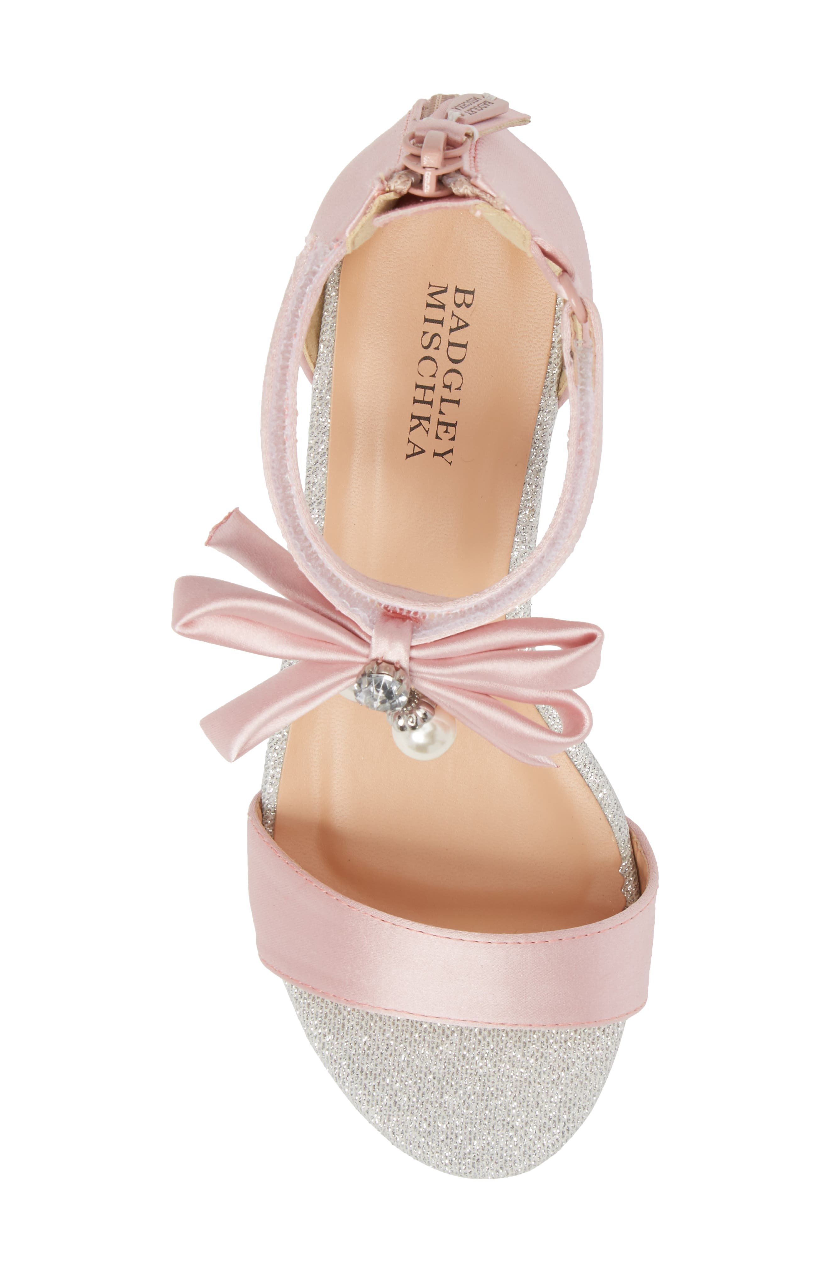 BADGLEY MISCHKA COLLECTION, Badgley Mischka Pernia Embellished Sandal, Alternate thumbnail 5, color, PINK/ SILVER