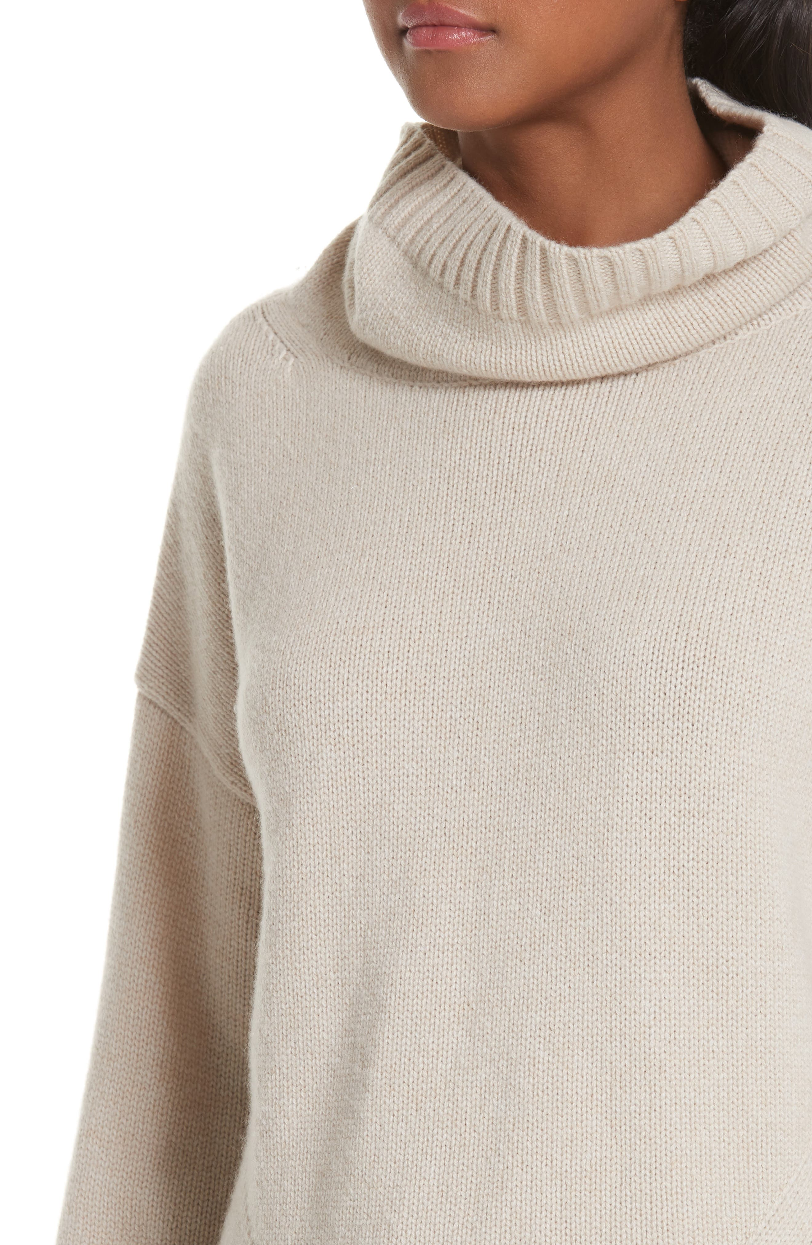 NILI LOTAN, Boyd Cashmere Cowl Neck Sweater, Alternate thumbnail 4, color, LIGHT TAUPE