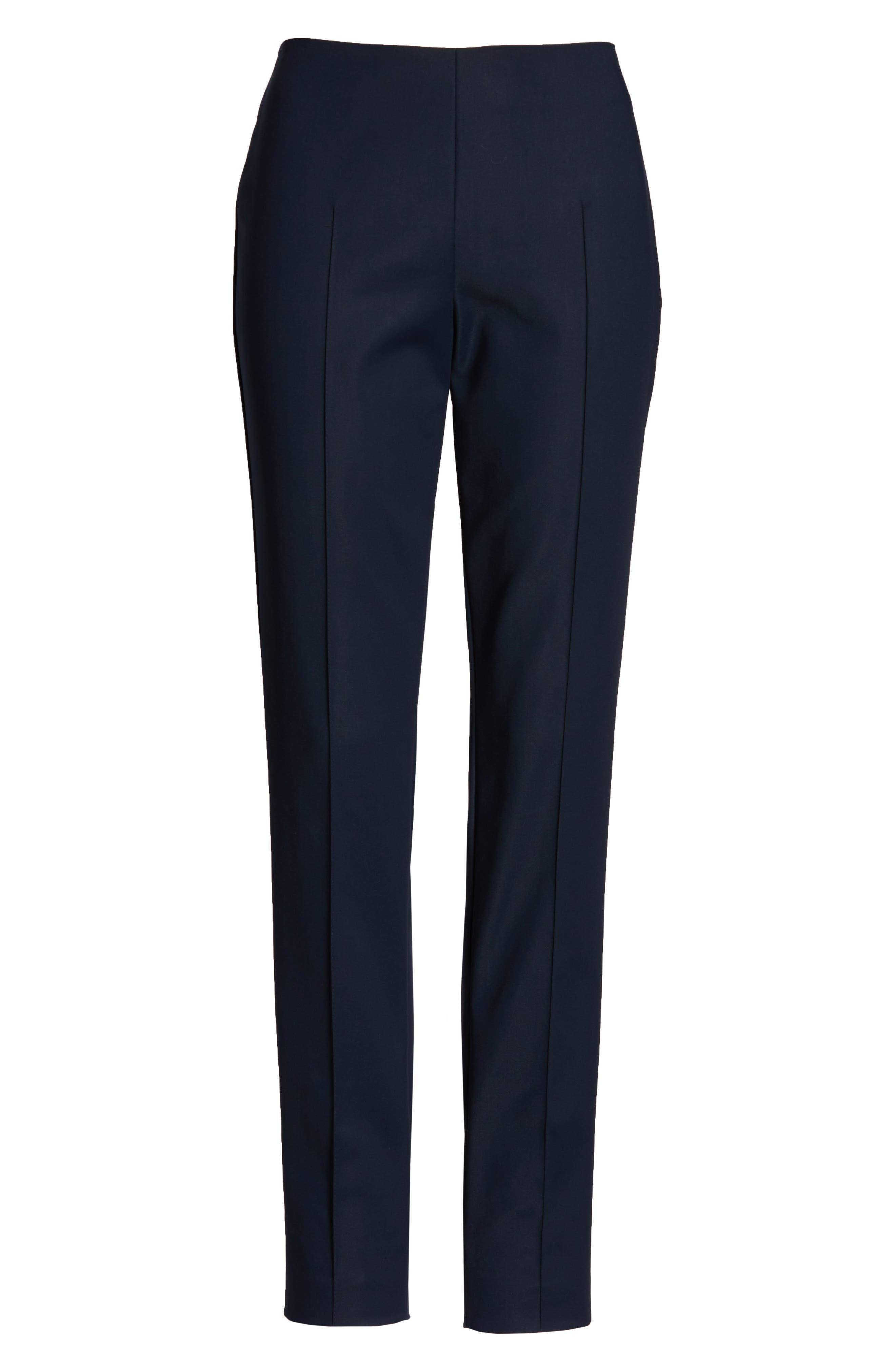 AKRIS, 'Melissa' Slim Techno Cotton Ankle Pants, Alternate thumbnail 8, color, NAVY