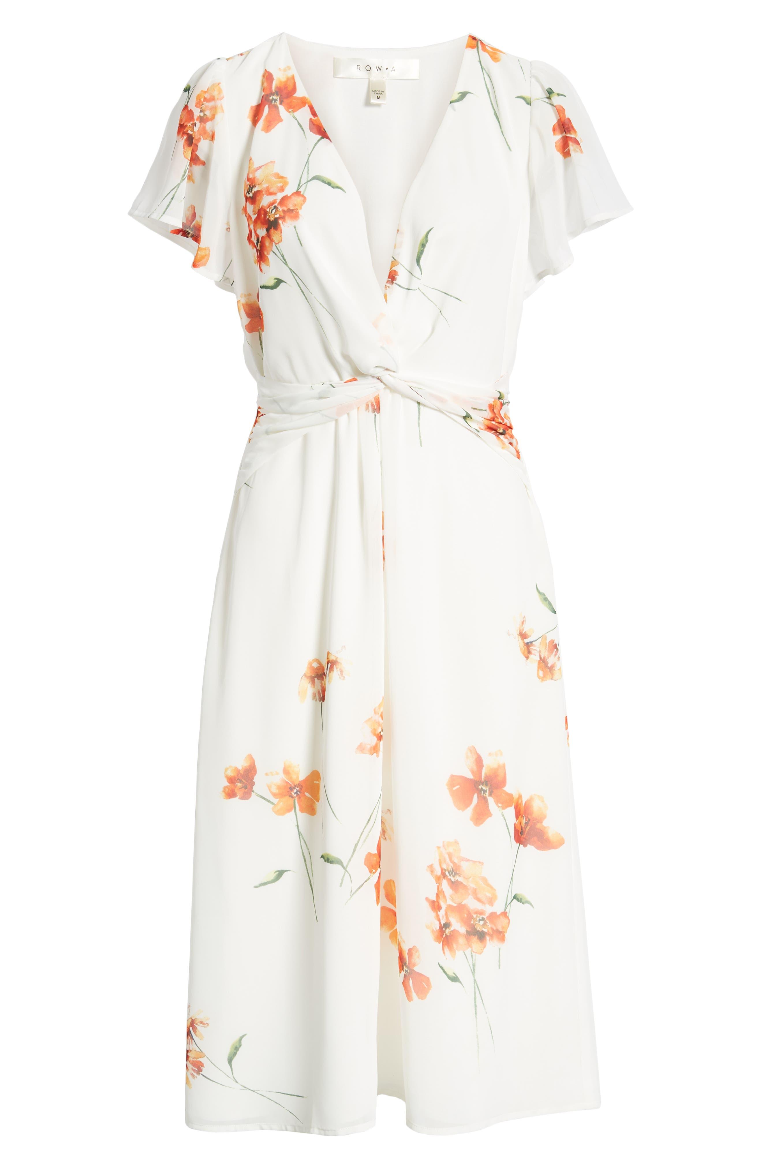 ROW A, Twist Front Midi Dress, Alternate thumbnail 7, color, IVORY ORANGE FLORAL