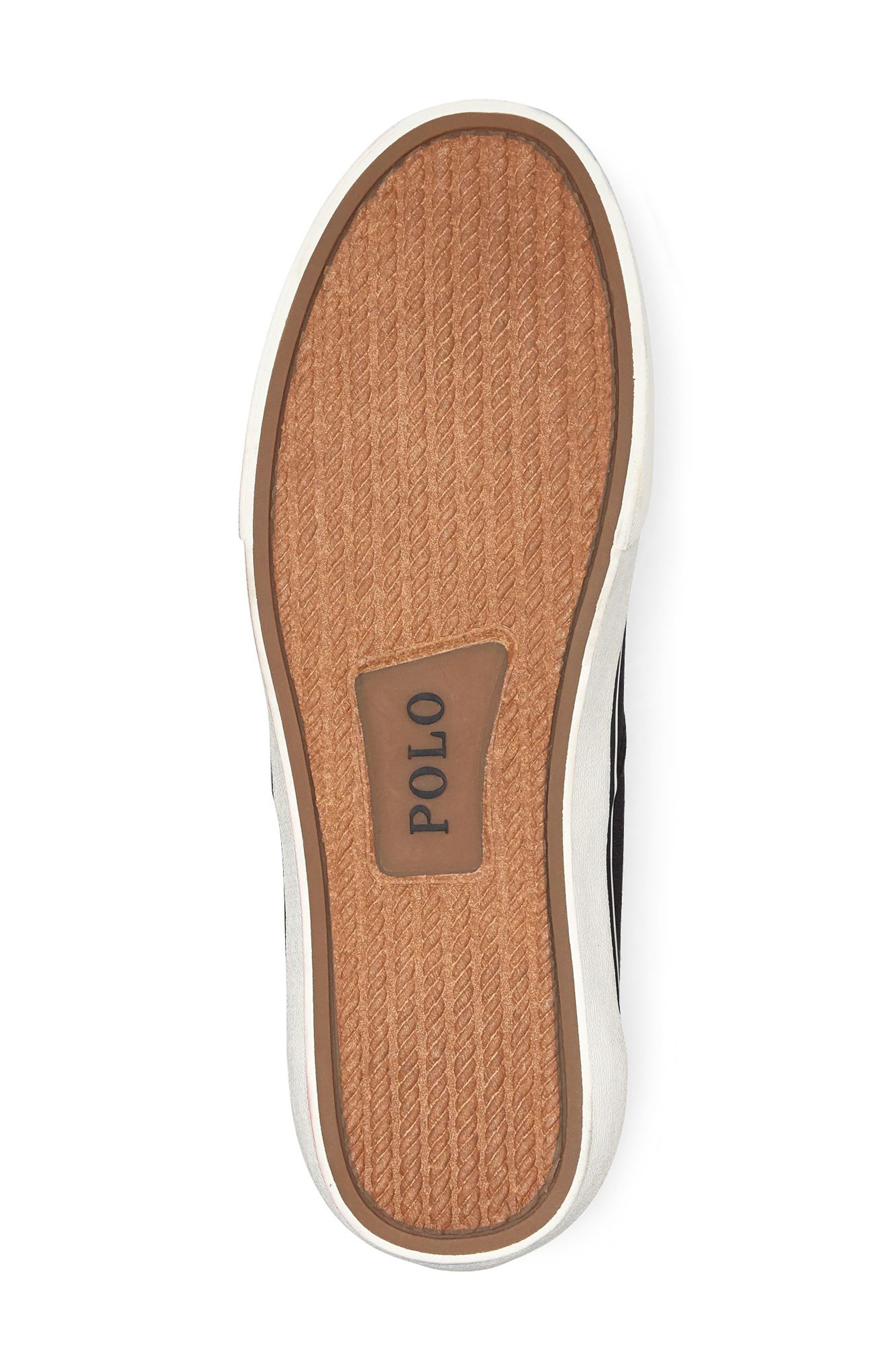 POLO RALPH LAUREN, Thorton Low Top Sneaker, Alternate thumbnail 4, color, BLACK CANVAS
