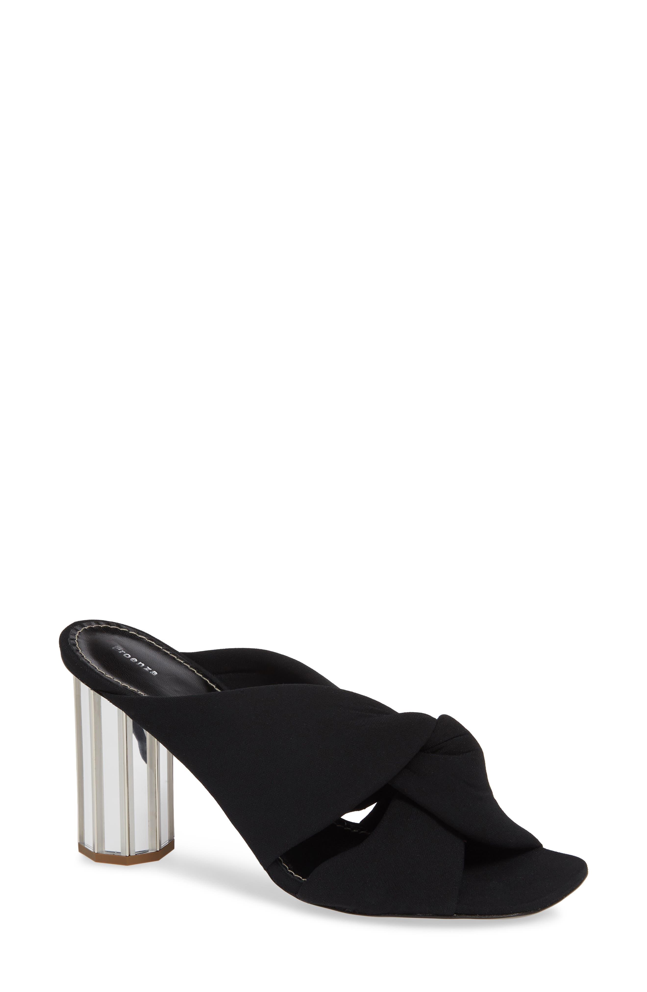 PROENZA SCHOULER, Knotted Slide Sandal, Main thumbnail 1, color, BLACK