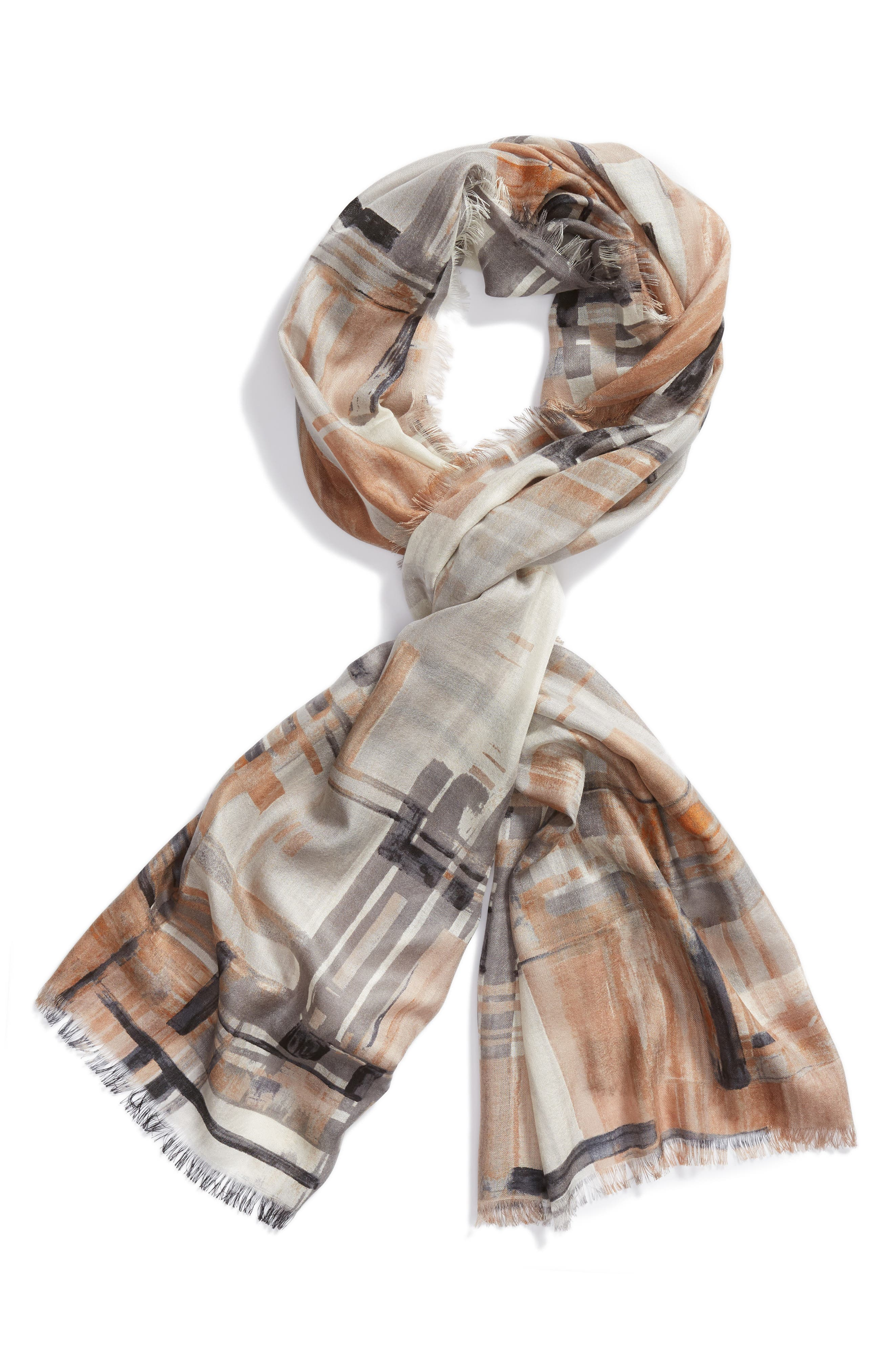 NORDSTROM, Eyelash Trim Print Cashmere & Silk Wrap, Alternate thumbnail 2, color, 001