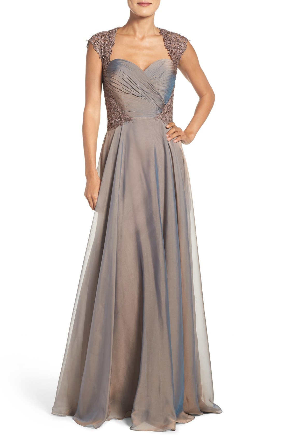 LA FEMME, Ruched Chiffon Gown, Main thumbnail 1, color, COCOA