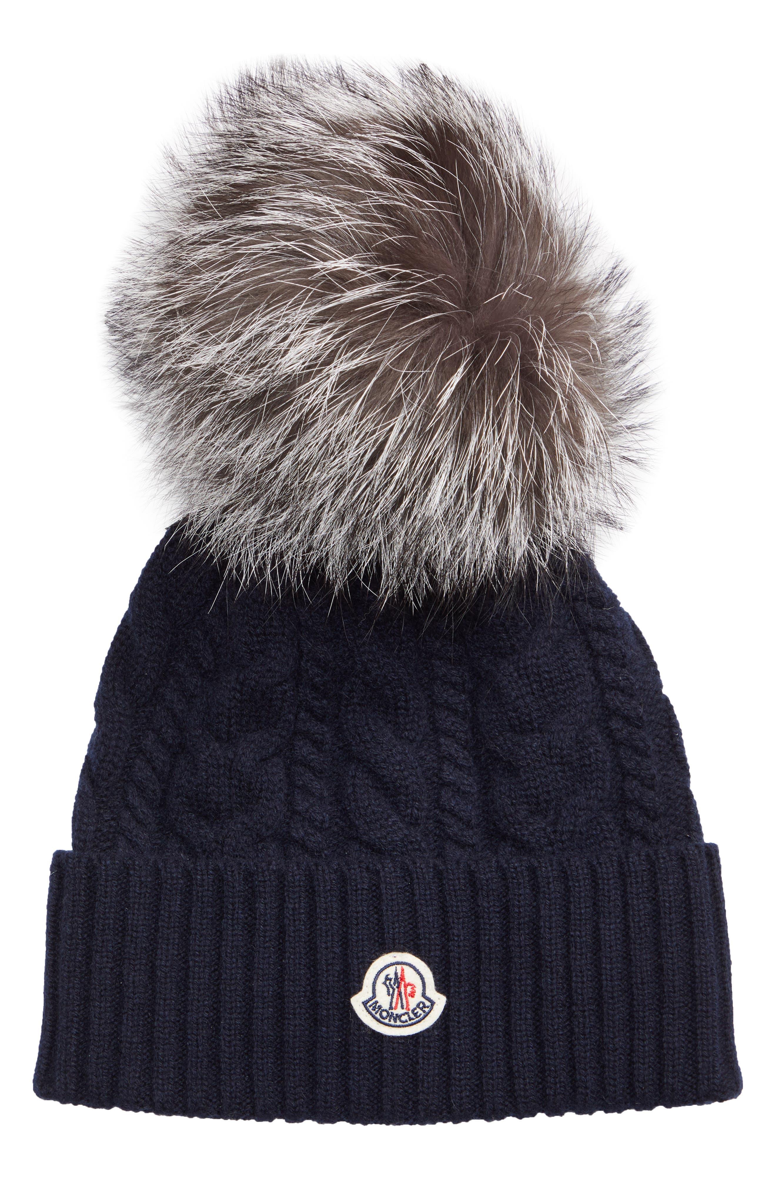 MONCLER, Genuine Fox Fur Pom Wool Beanie, Main thumbnail 1, color, NAVY
