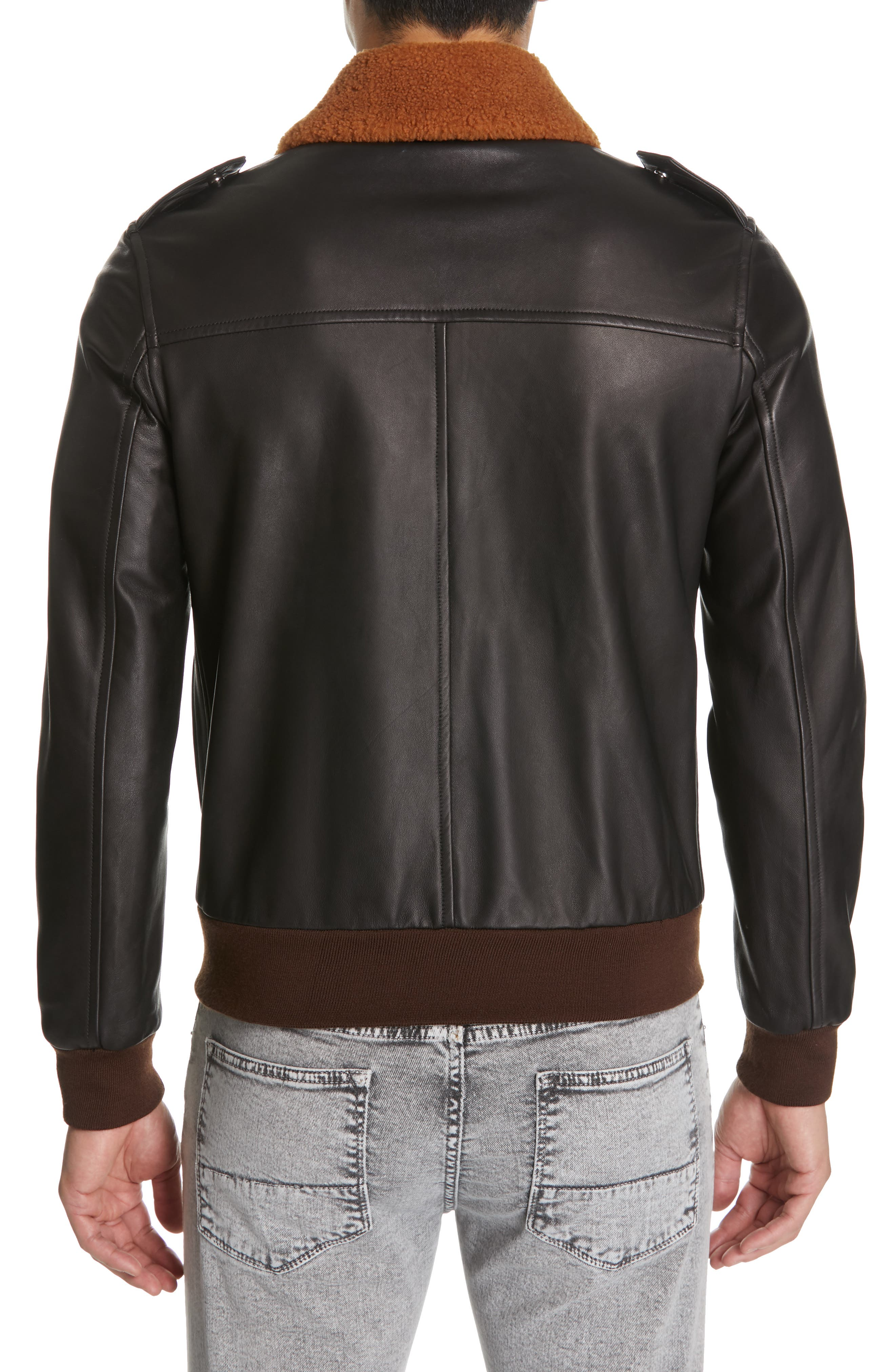 EIDOS, Genuine Shearling Collar Leather Bomber Jacket, Alternate thumbnail 2, color, BLACK