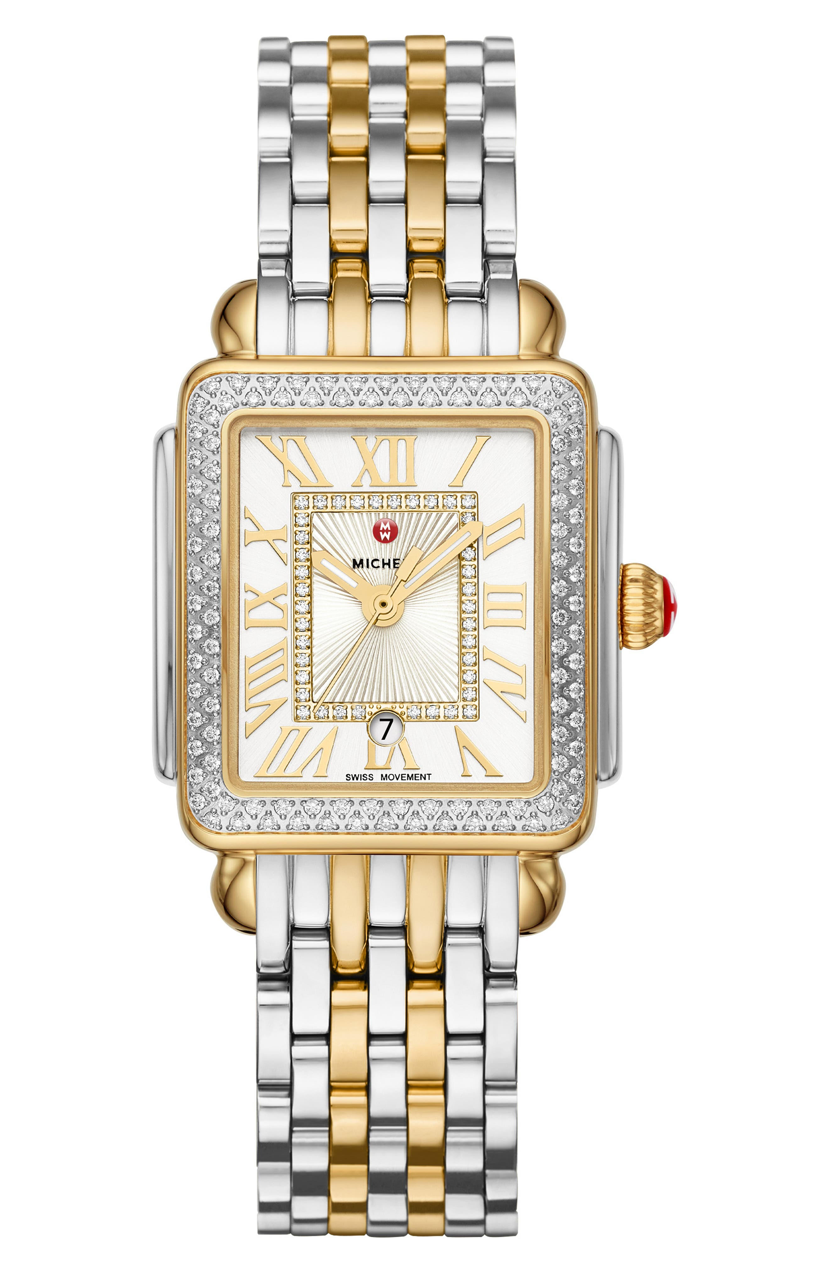 MICHELE, Deco Madison Mid Diamond Dial Watch Head, 29mm x 31mm, Alternate thumbnail 4, color, GOLD/ SILVER/ WHITE