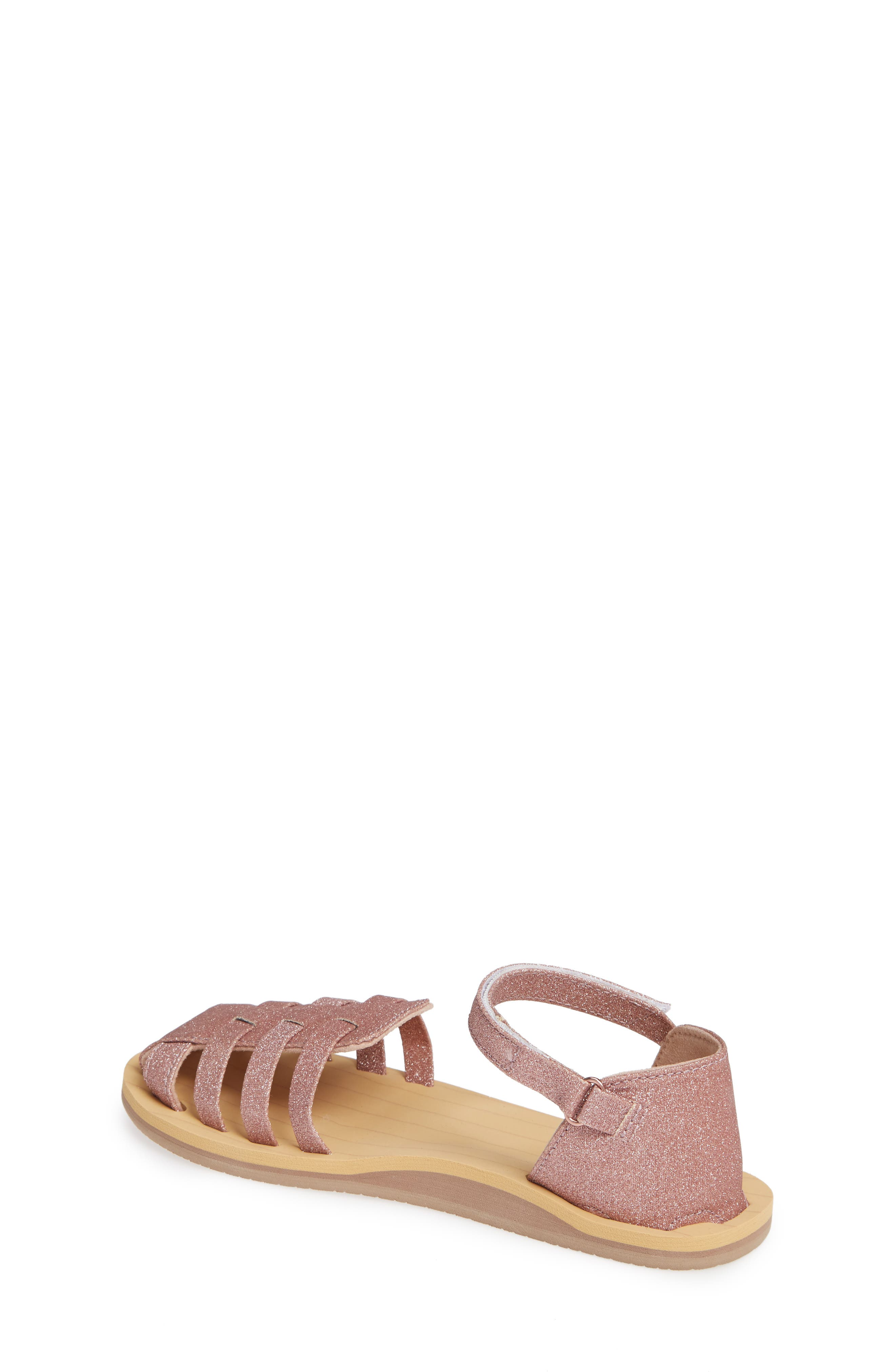 REEF, Little Reef Prep Glitter Fisherman Sandal, Alternate thumbnail 2, color, ROSE