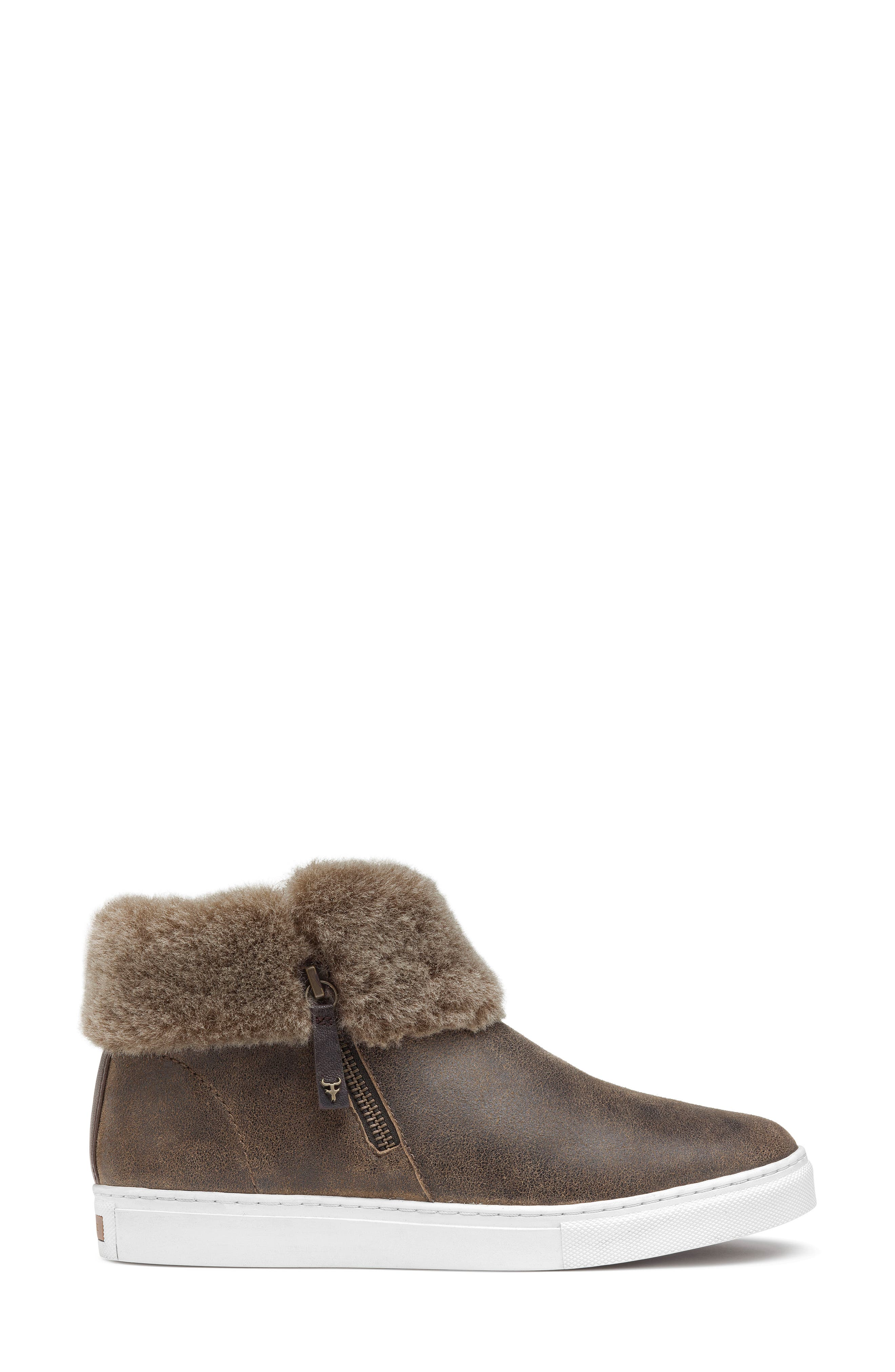 TRASK, Lexi Genuine Shearling Sneaker, Alternate thumbnail 3, color, BROWN LEATHER