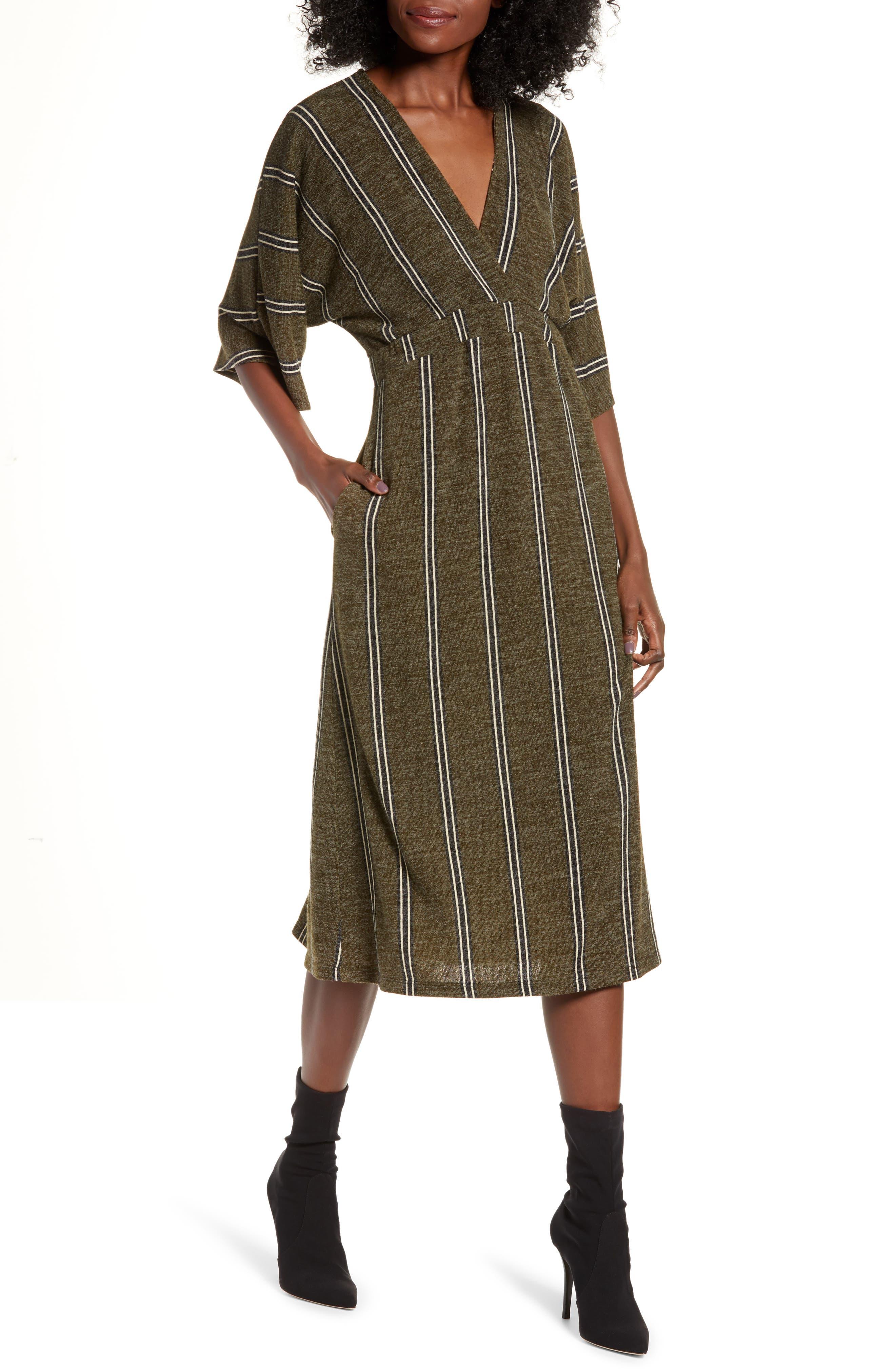ALL IN FAVOR, Surplus Midi Dress, Main thumbnail 1, color, GREEN STRIPE