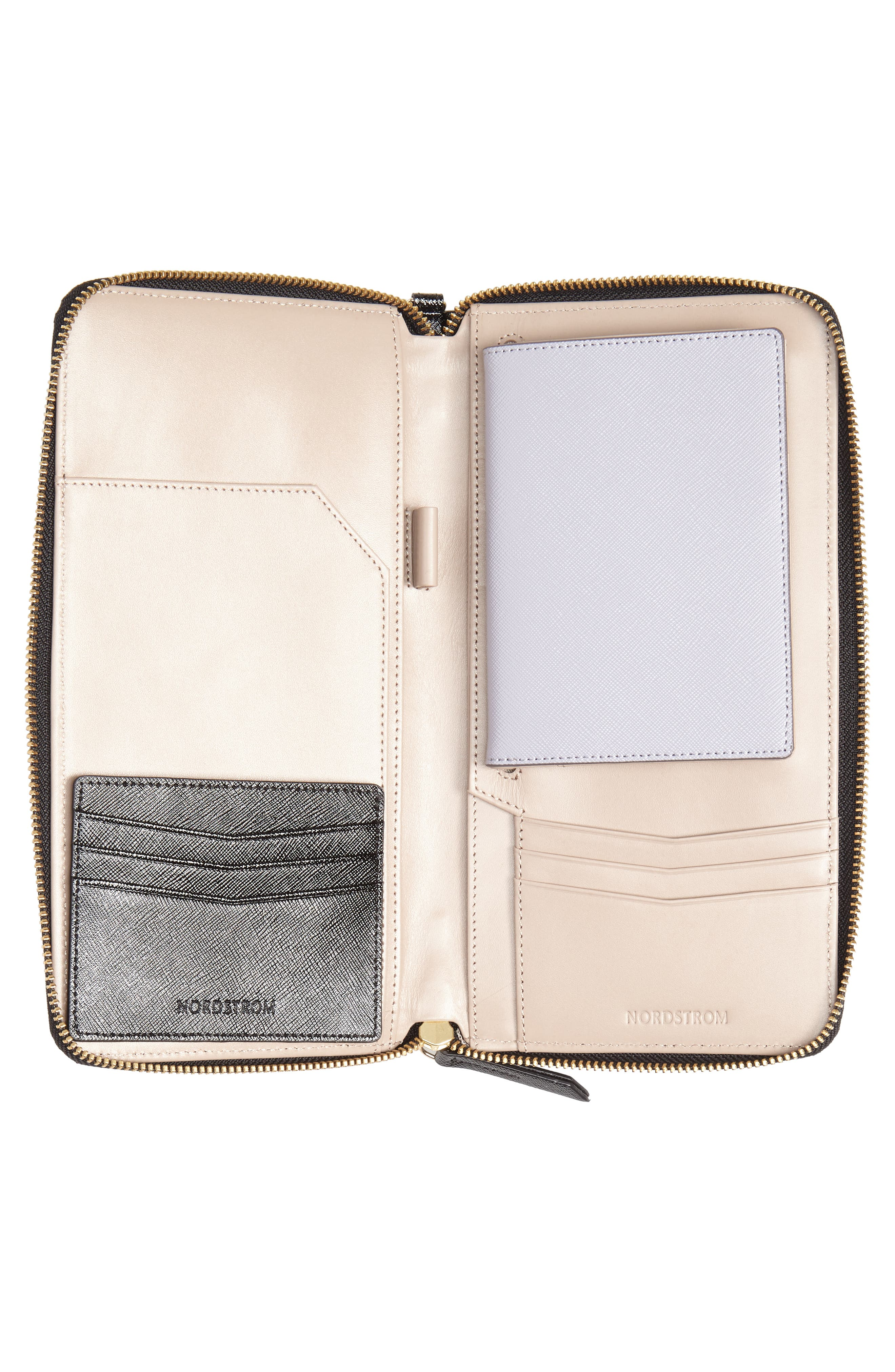 NORDSTROM, Leather Travel Organizer, Alternate thumbnail 4, color, BLACK