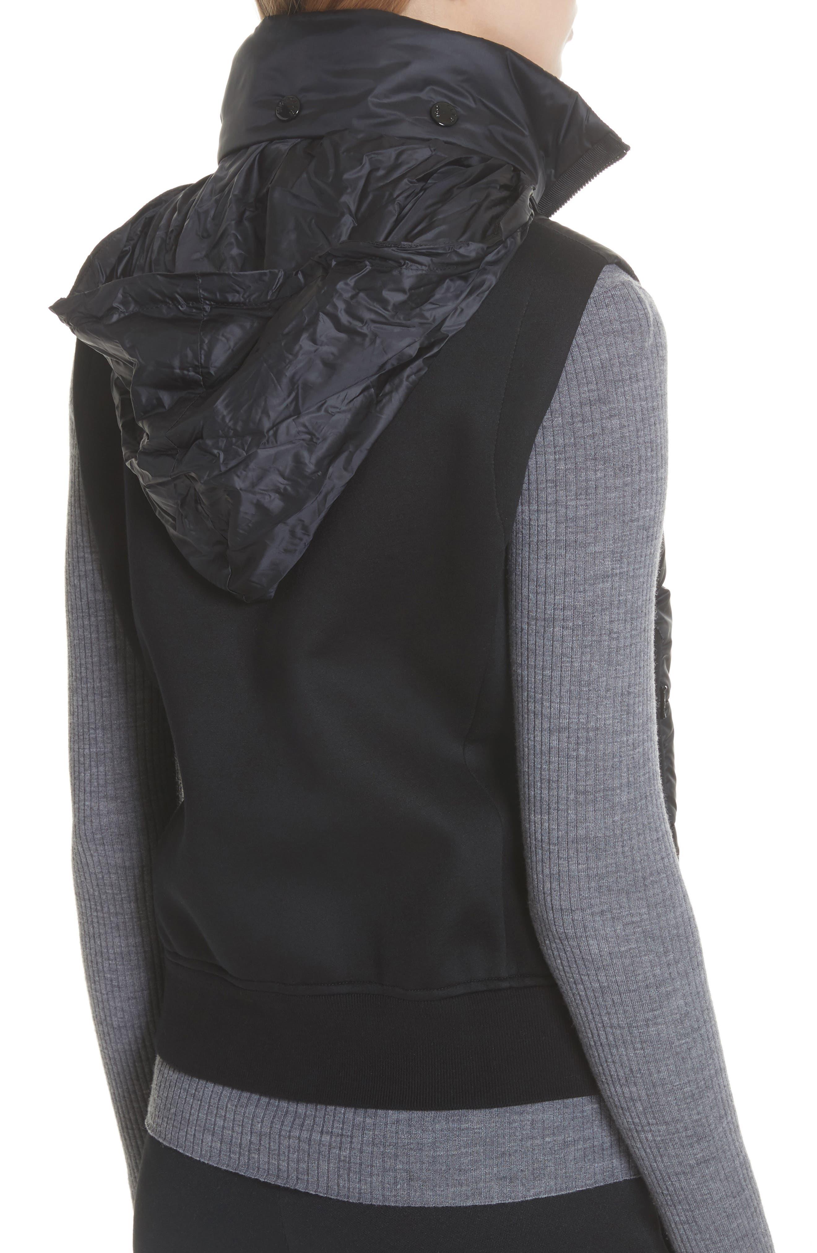 MONCLER, Down Quilted Fleece Vest, Alternate thumbnail 4, color, 001
