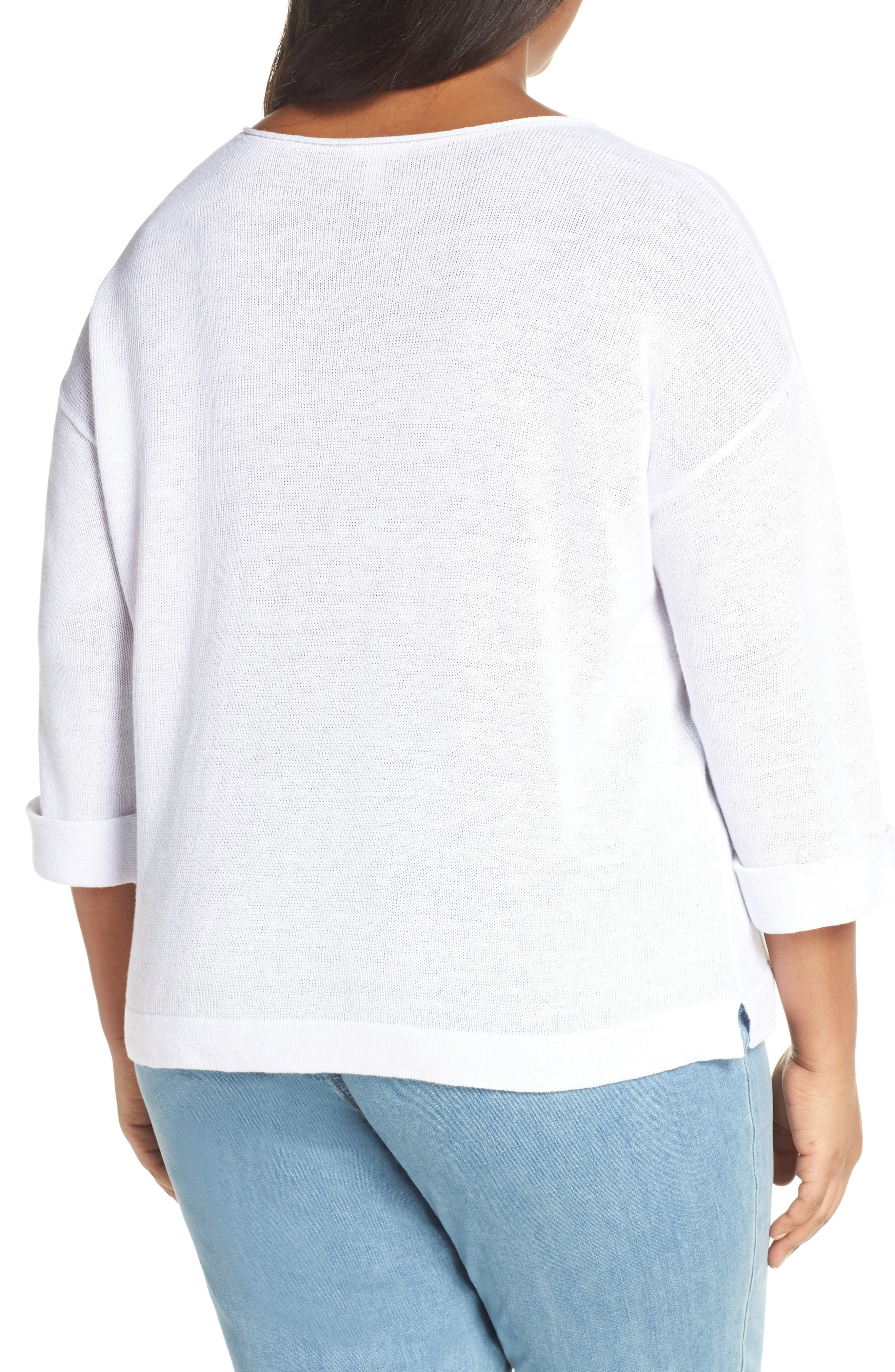 EILEEN FISHER, Round Neck Top, Alternate thumbnail 2, color, WHITE