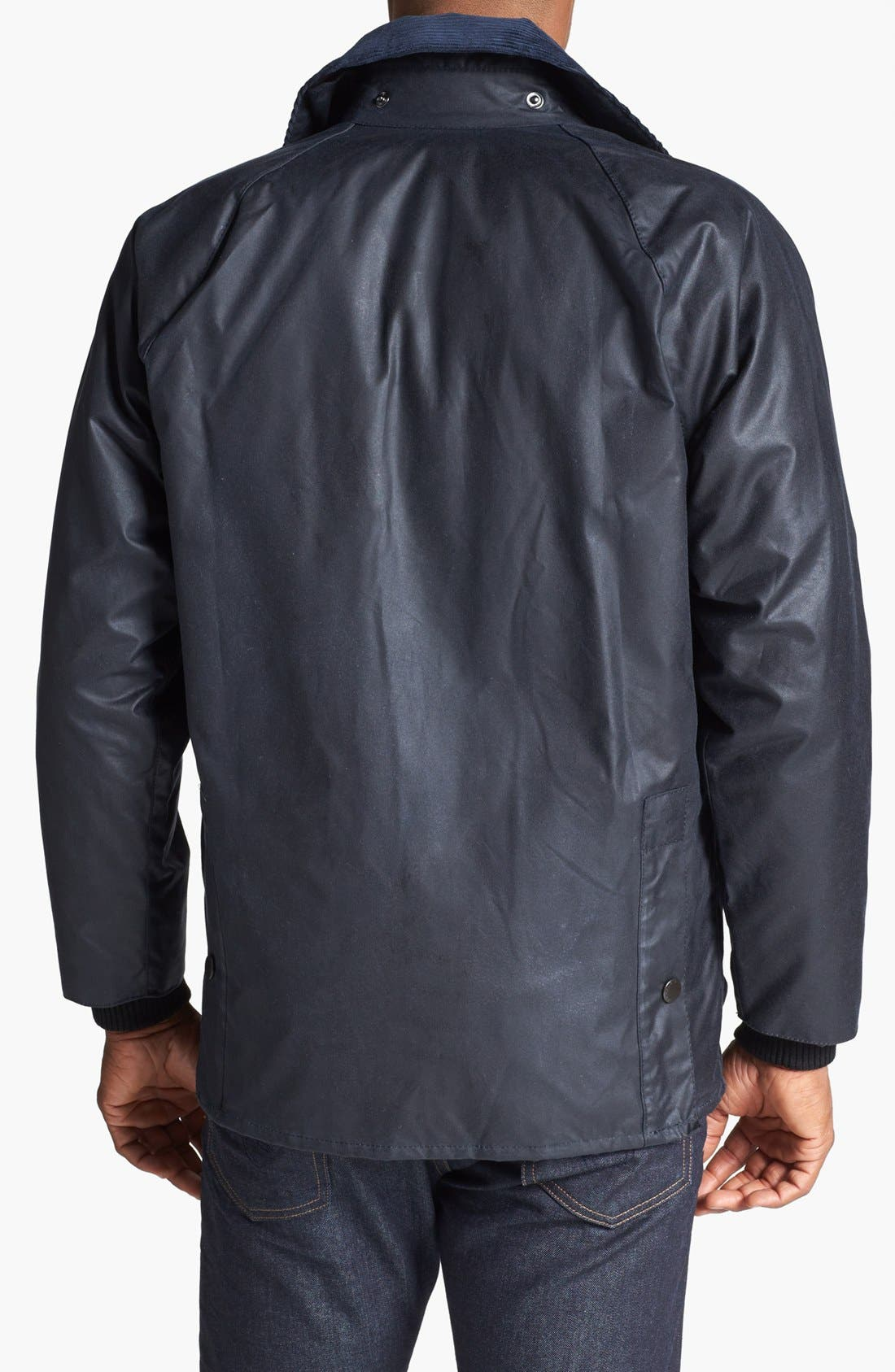 BARBOUR, 'Bedale' Regular Fit Waxed Cotton Jacket, Alternate thumbnail 2, color, NAVY