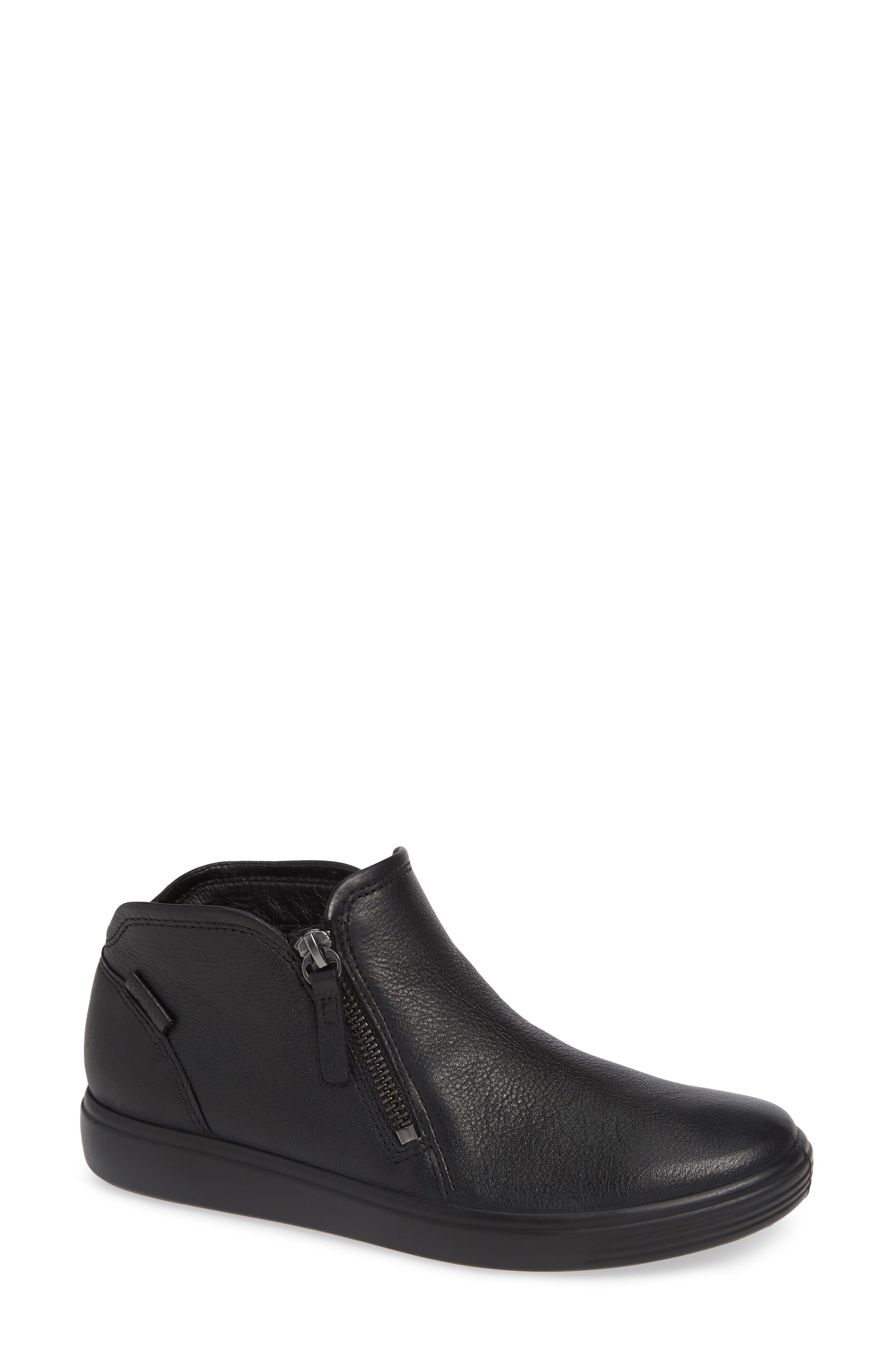 ECCO, Soft 7 Mid Top Sneaker, Main thumbnail 1, color, BLACK/ BLACK LEATHER