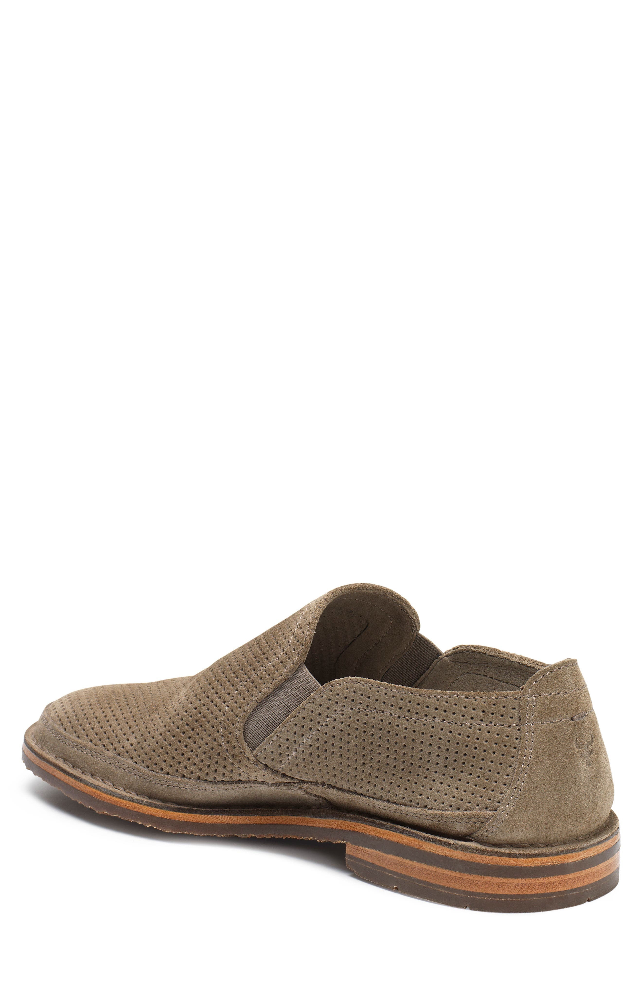 TRASK, Bradley Perforated Slip-On, Alternate thumbnail 2, color, TAUPE SUEDE