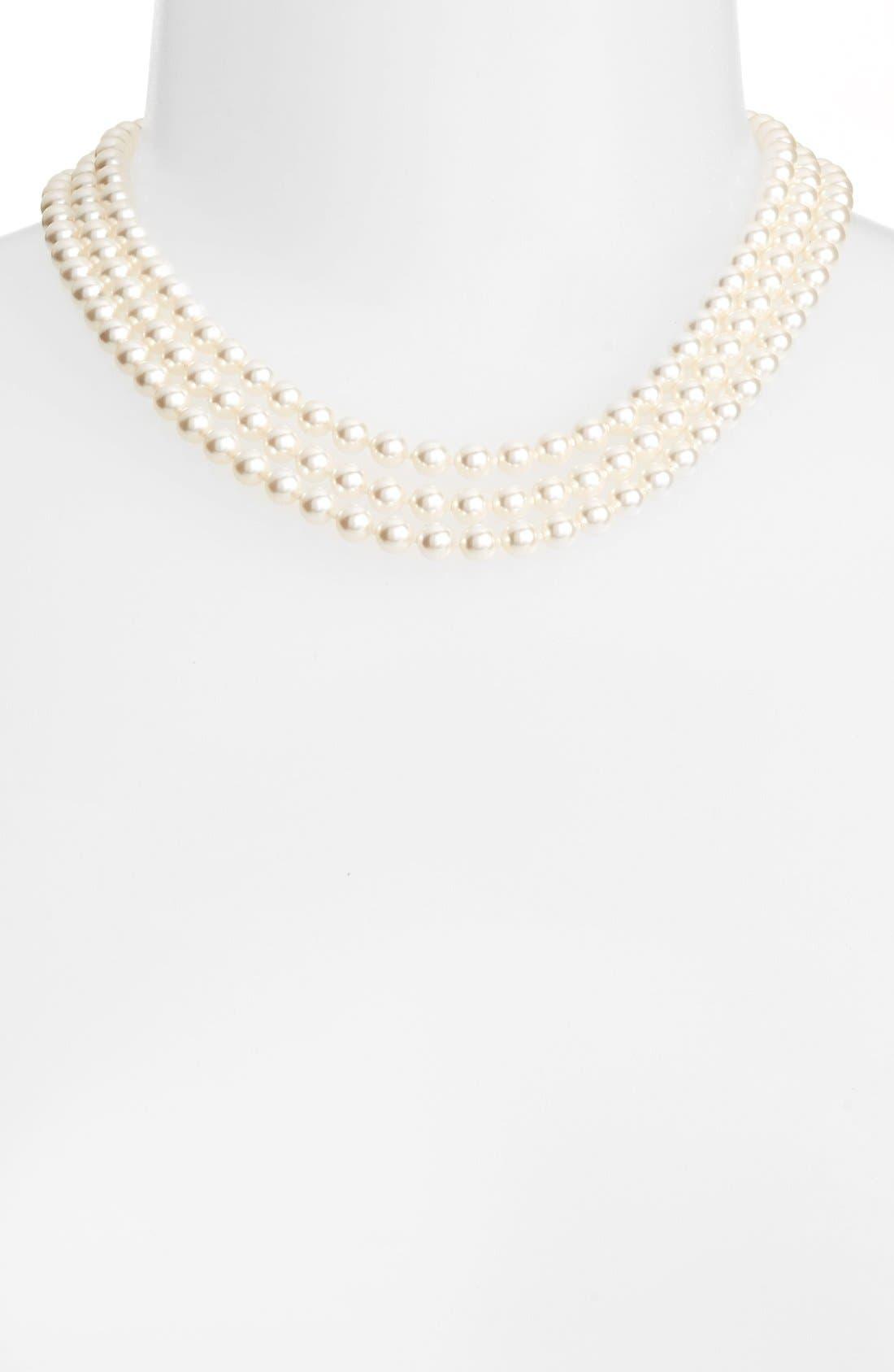 NADRI, Multistrand Imitation Pearl Necklace, Main thumbnail 1, color, IVORY