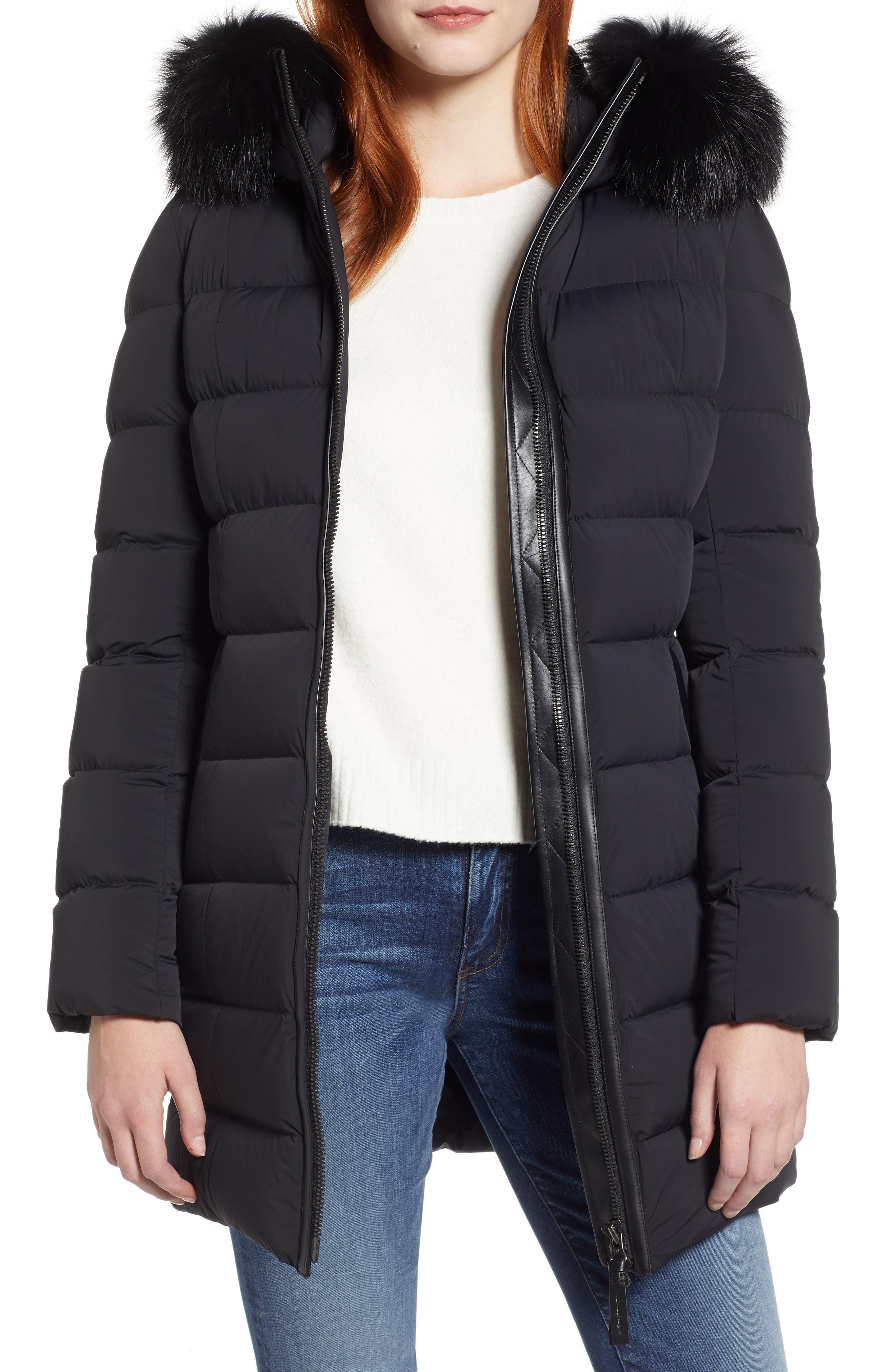 MACKAGE, Calla Genuine Fox Fur Trim Hooded Down Coat, Main thumbnail 1, color, BLACK