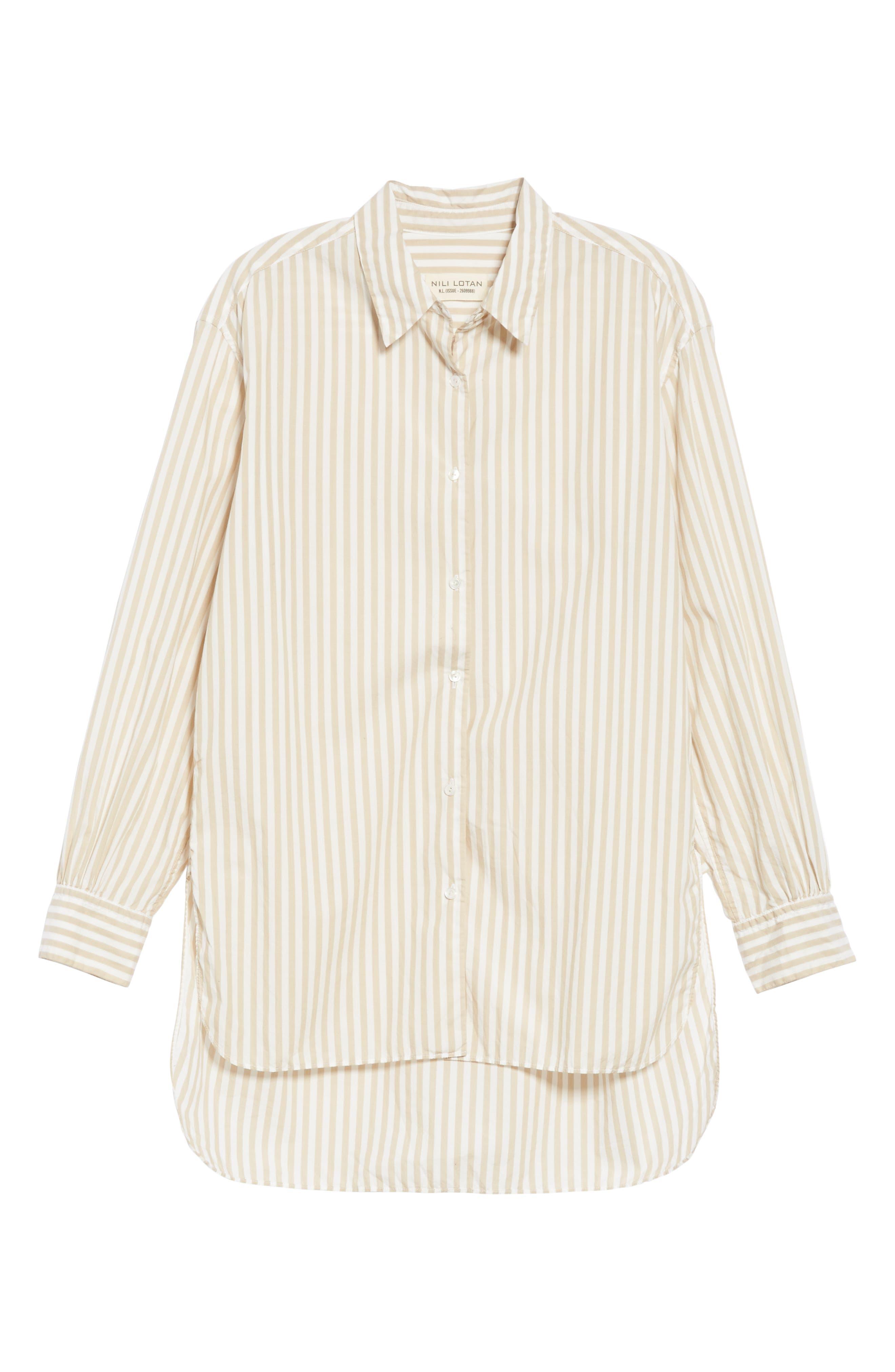 NILI LOTAN, Noa Stripe Shirt, Alternate thumbnail 6, color, TAN STRIPE