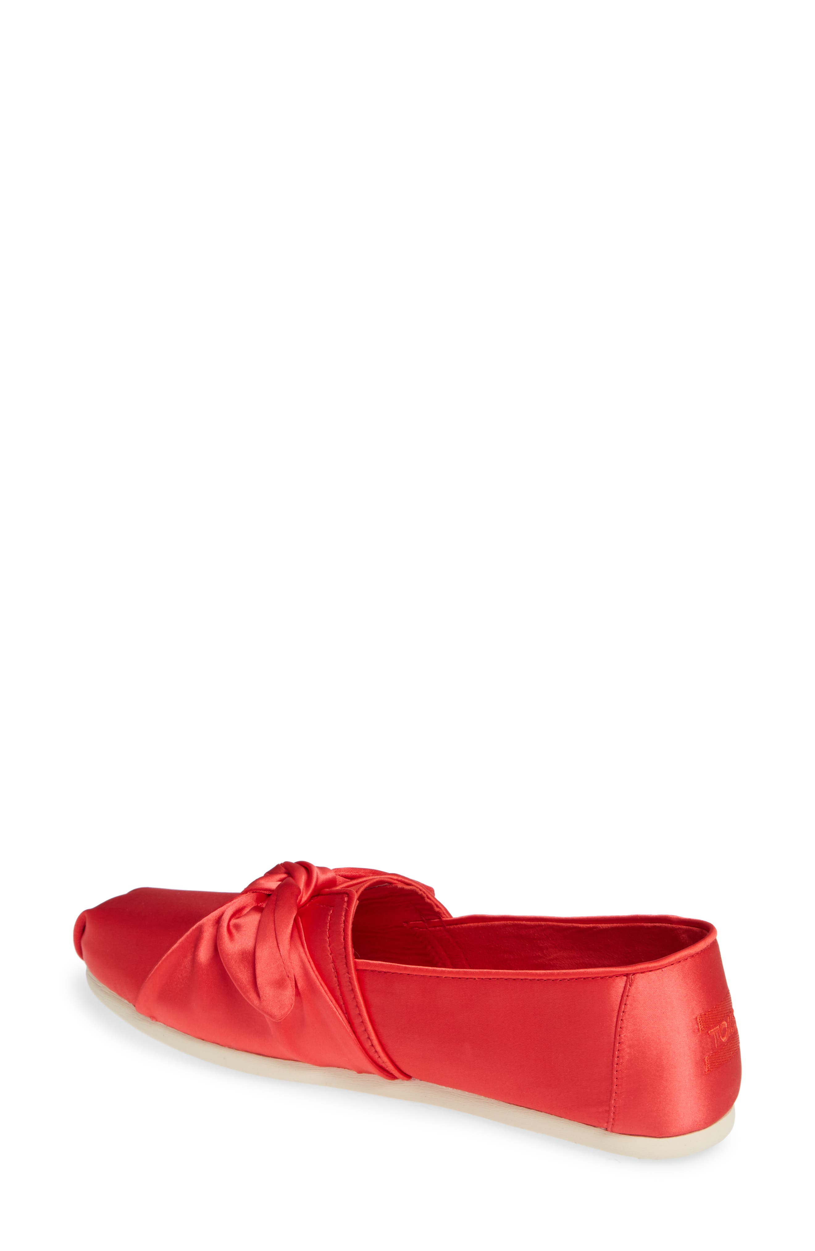 TOMS, Alpargata Bow Slip-On, Alternate thumbnail 2, color, RED LAVA FABRIC