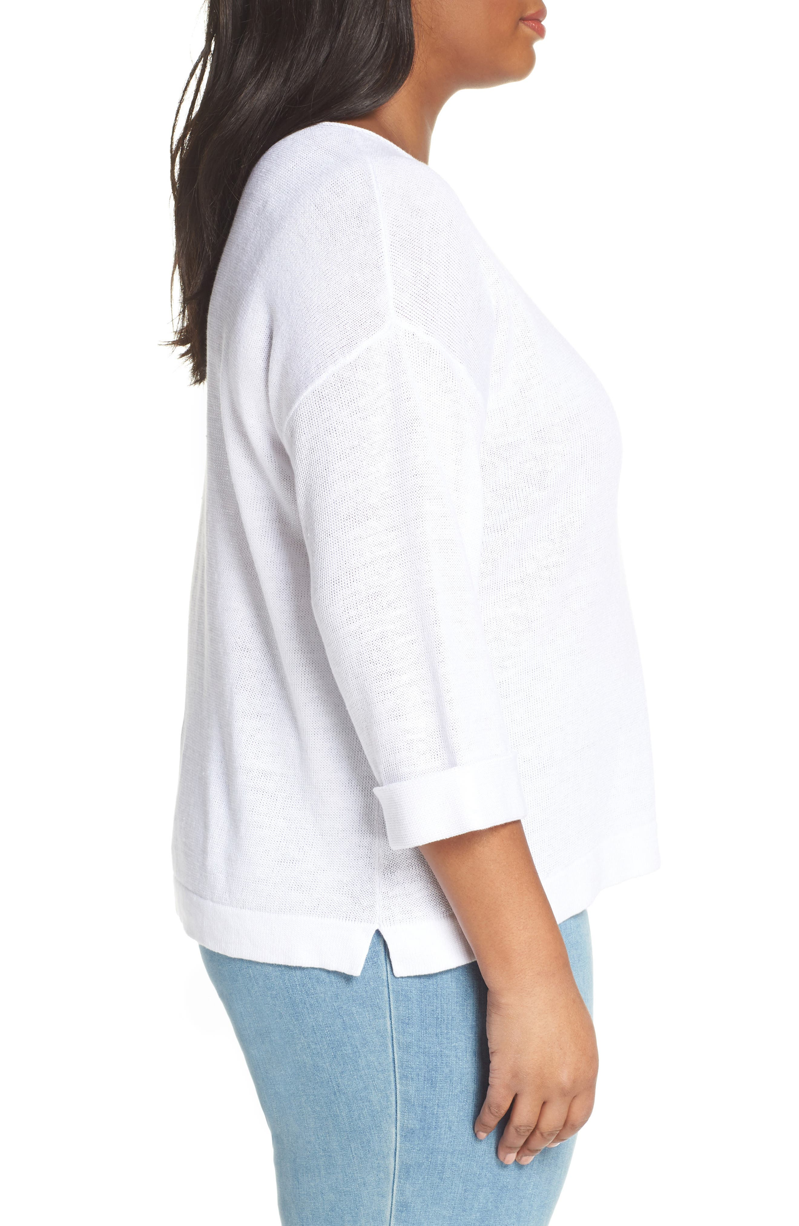 EILEEN FISHER, Round Neck Top, Alternate thumbnail 3, color, WHITE