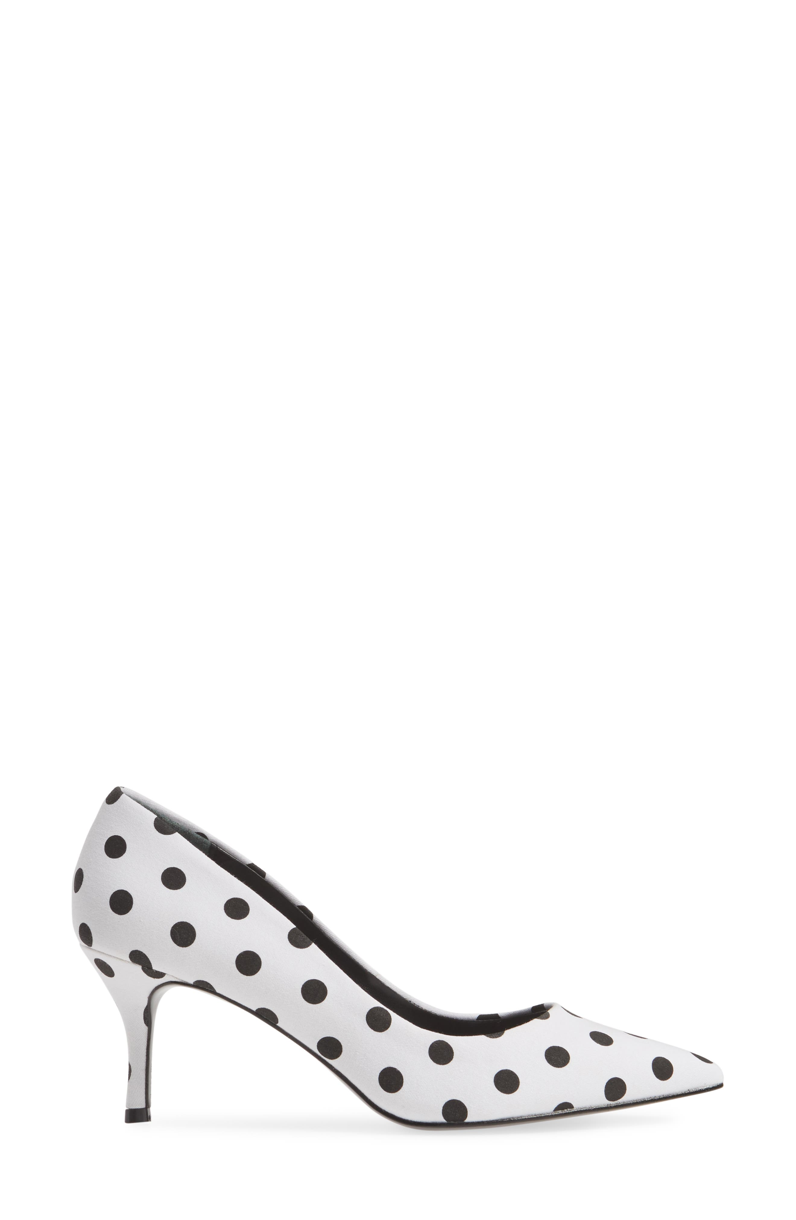 CHARLES BY CHARLES DAVID, Addie Pump, Alternate thumbnail 3, color, WHITE/ BLACK FABRIC