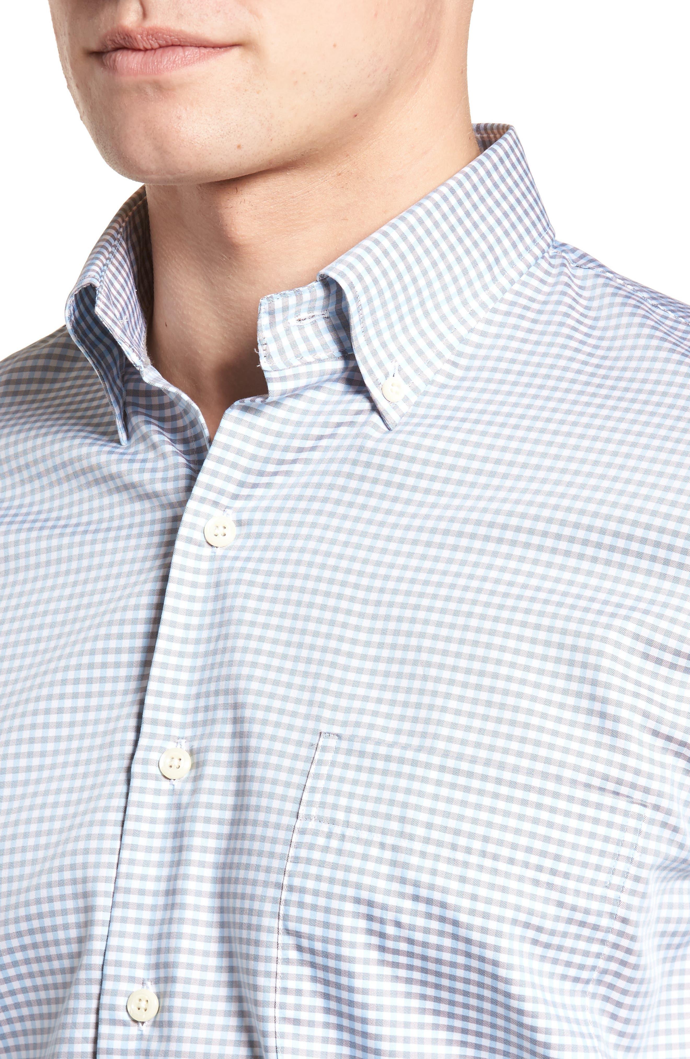 PETER MILLAR, Crown Regular Fit Mini Check Sport Shirt, Alternate thumbnail 4, color, TAR HEEL BLUE