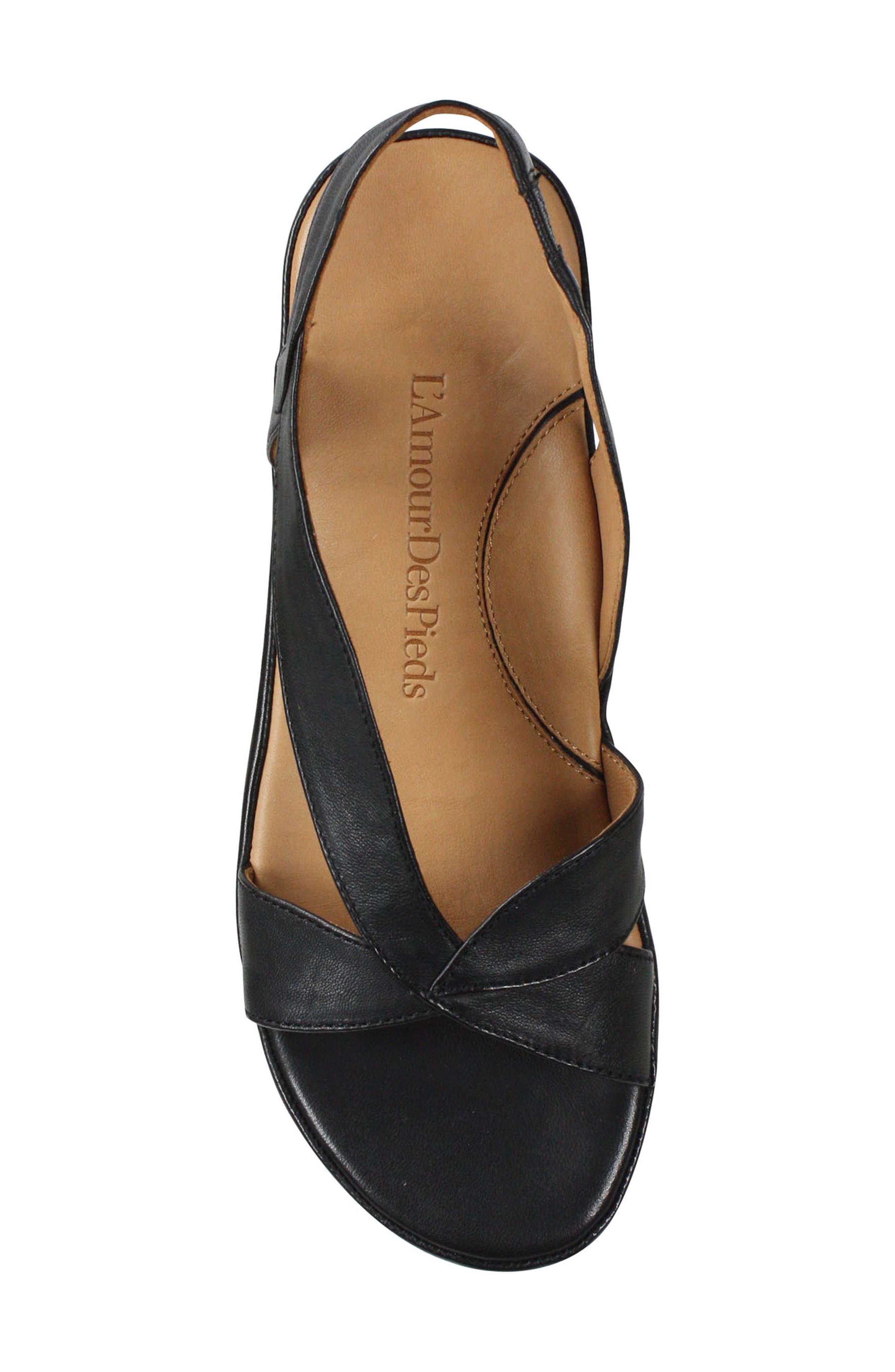 L'AMOUR DES PIEDS, Crotono Sandal, Alternate thumbnail 5, color, BLACK NAPPA LEATHER