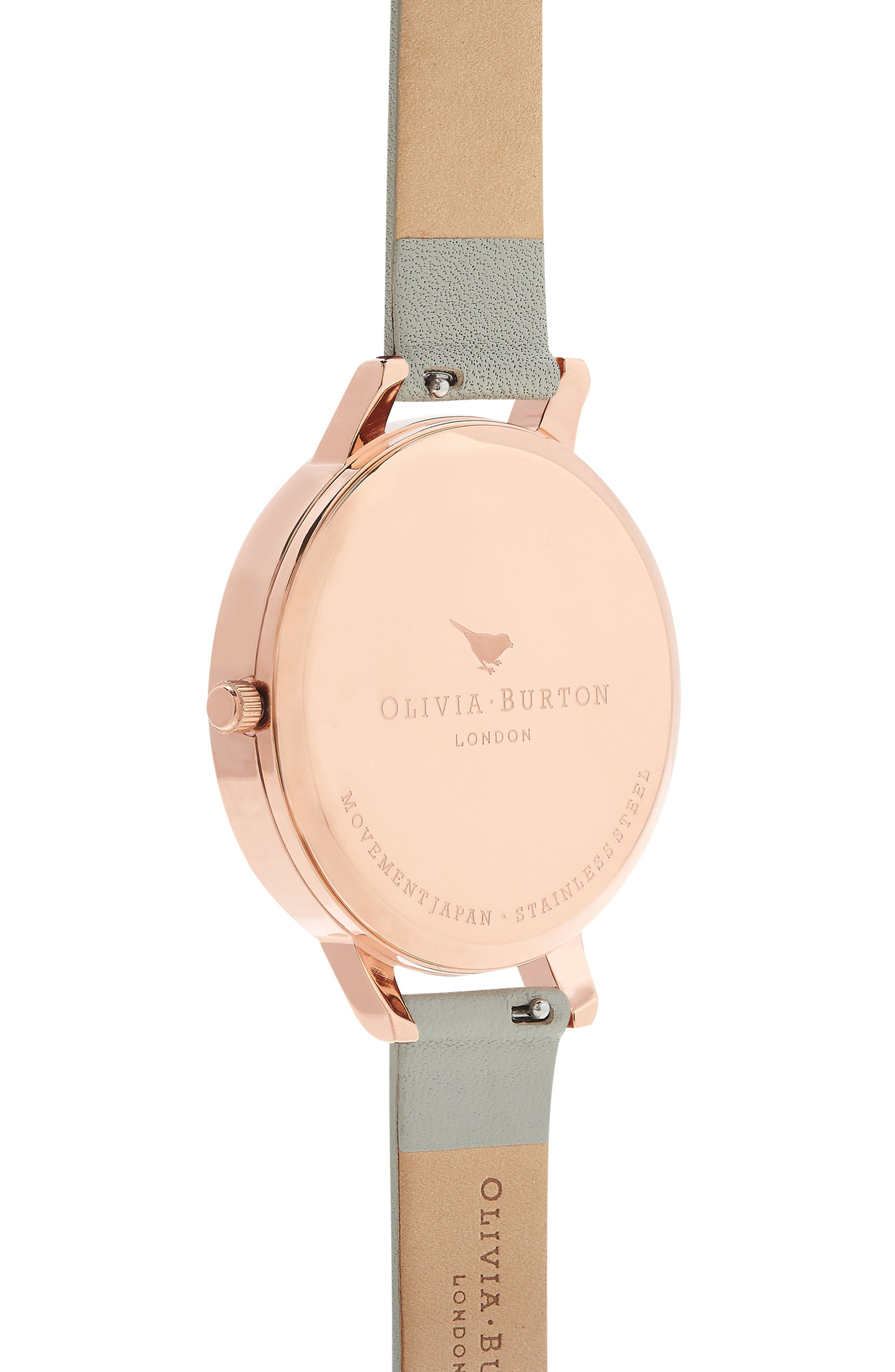 OLIVIA BURTON, Bejewelled Leather Strap Watch, 38mm, Alternate thumbnail 2, color, GREY/ FLORAL/ ROSE GOLD