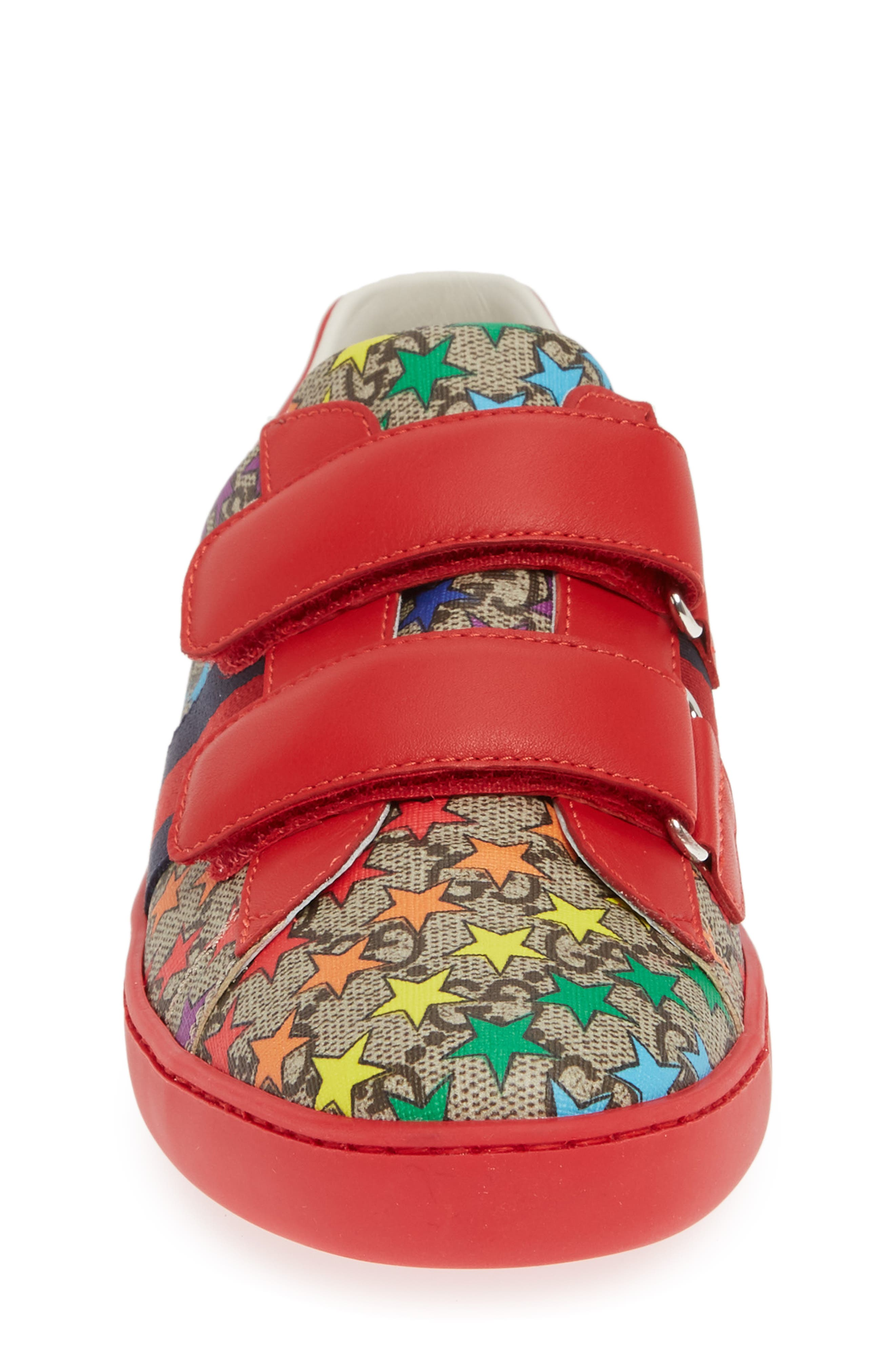 GUCCI, New Ace Sneaker, Alternate thumbnail 4, color, RED/ BEIGE/ EBONY