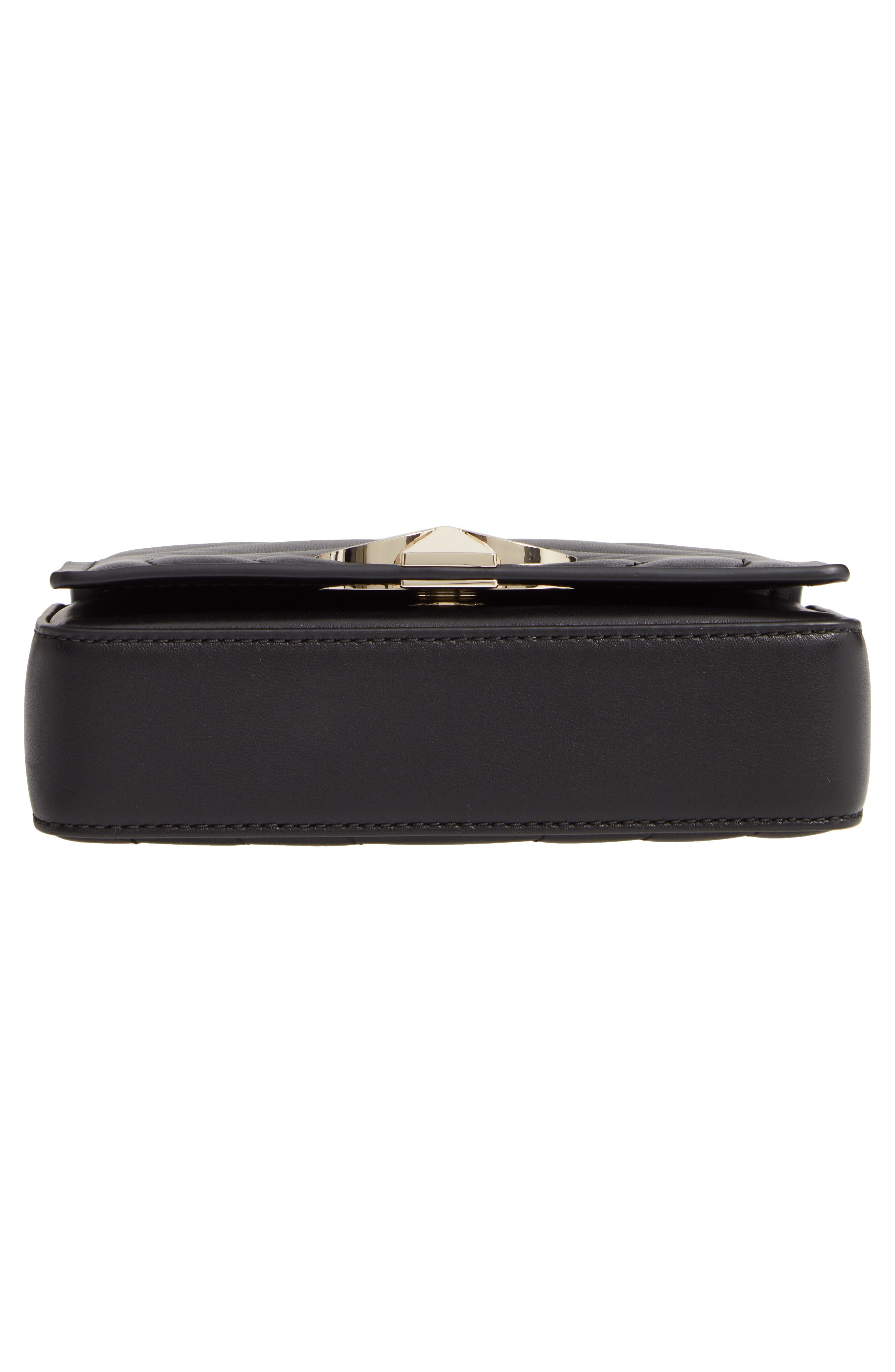 KATE SPADE NEW YORK, small amelia leather shoulder bag, Alternate thumbnail 7, color, BLACK