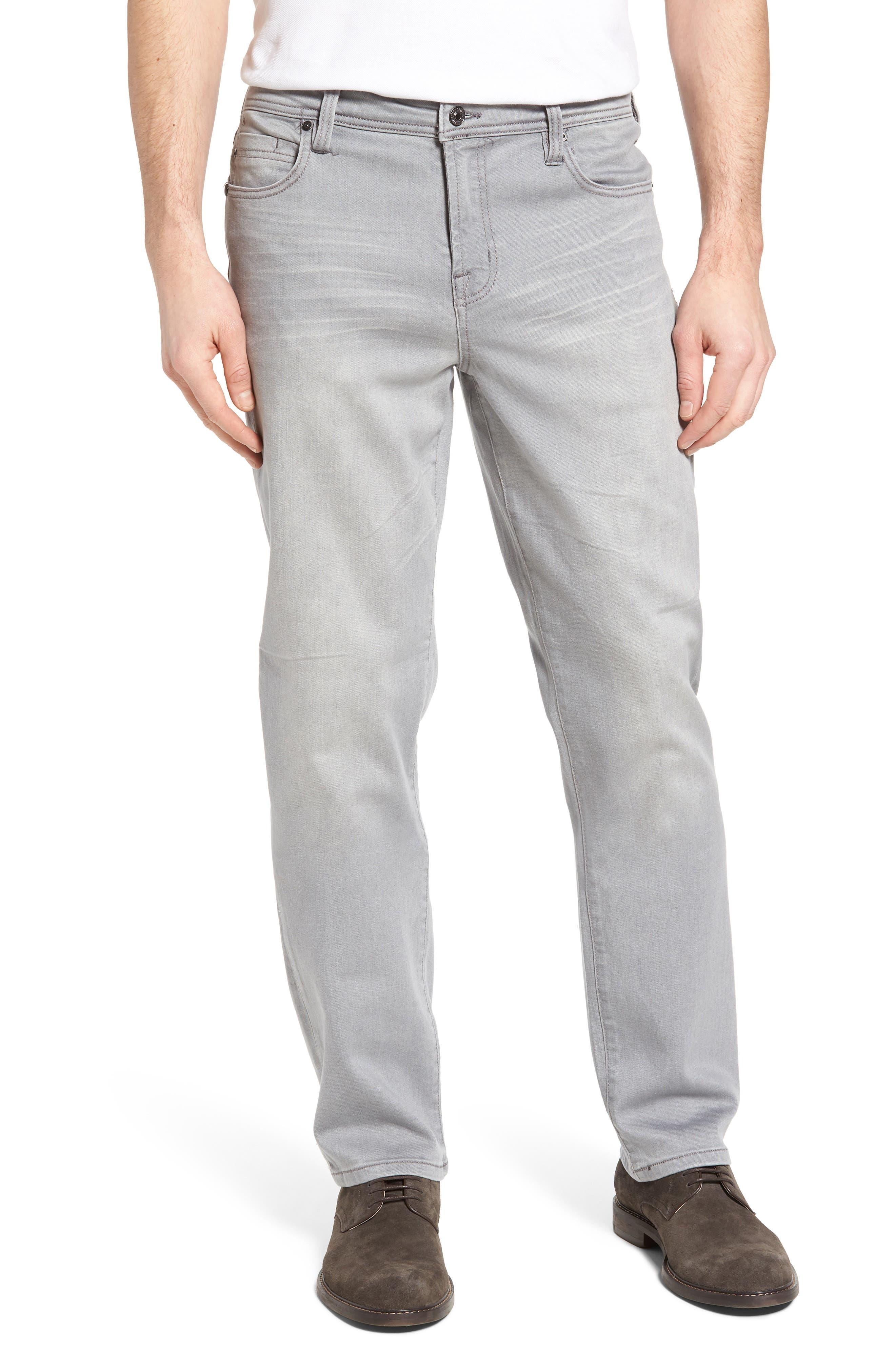 LIVERPOOL, Regent Relaxed Straight Leg Jeans, Main thumbnail 1, color, COAL MINE DARK