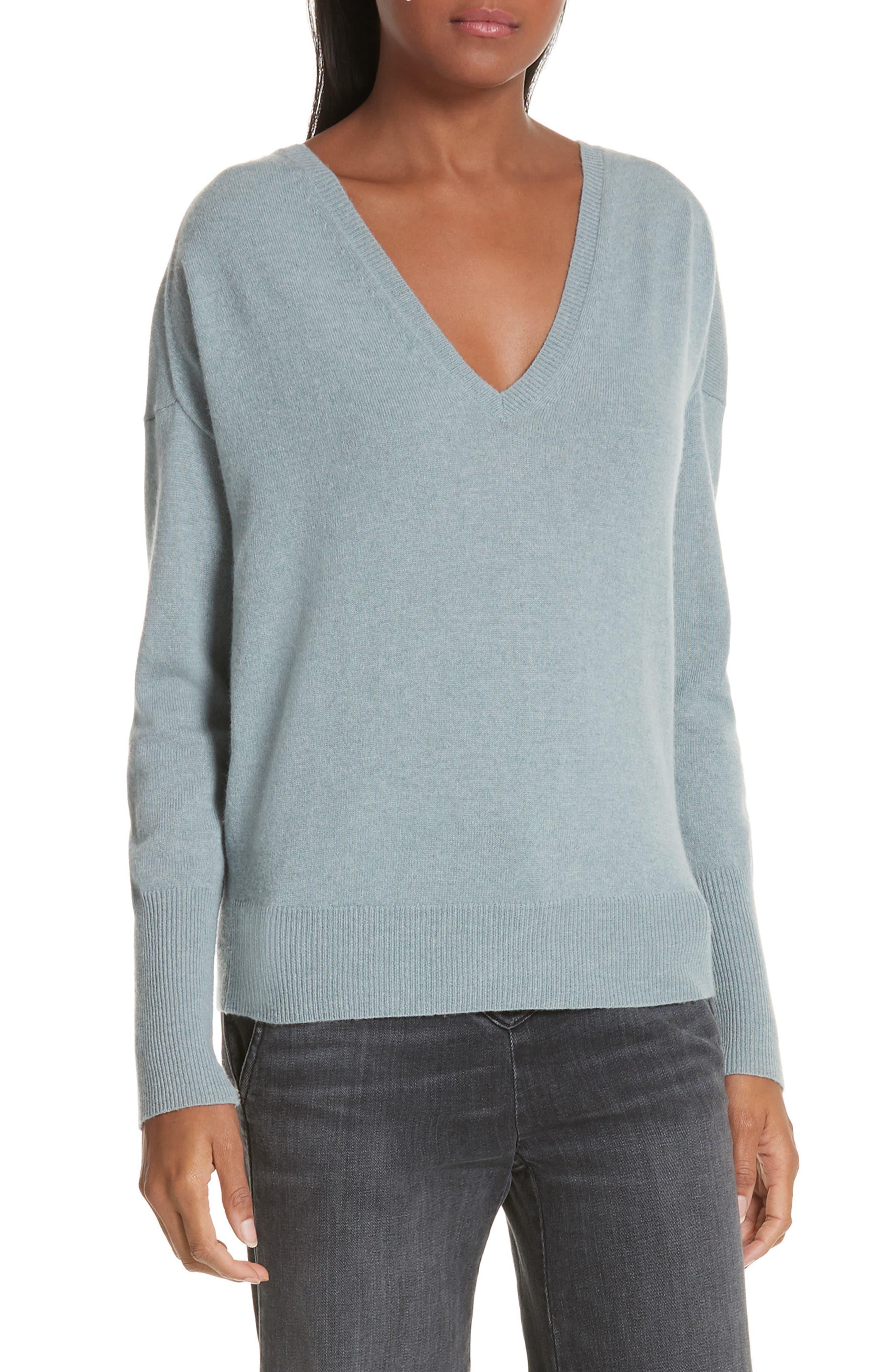 NILI LOTAN, Kylan Cashmere Sweater, Main thumbnail 1, color, SKY BLUE