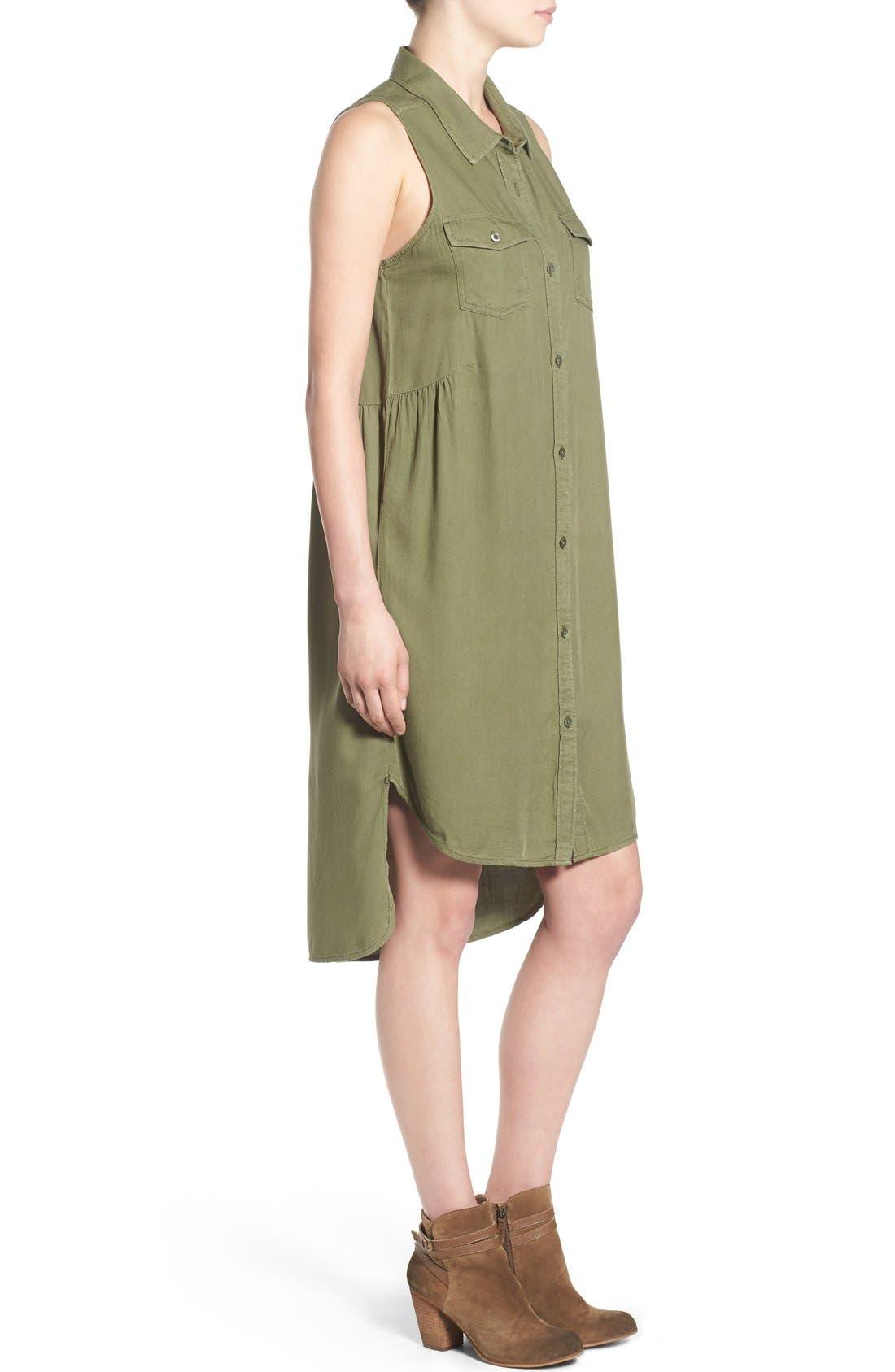 BP., Sleeveless Woven Shirtdress, Alternate thumbnail 3, color, 311