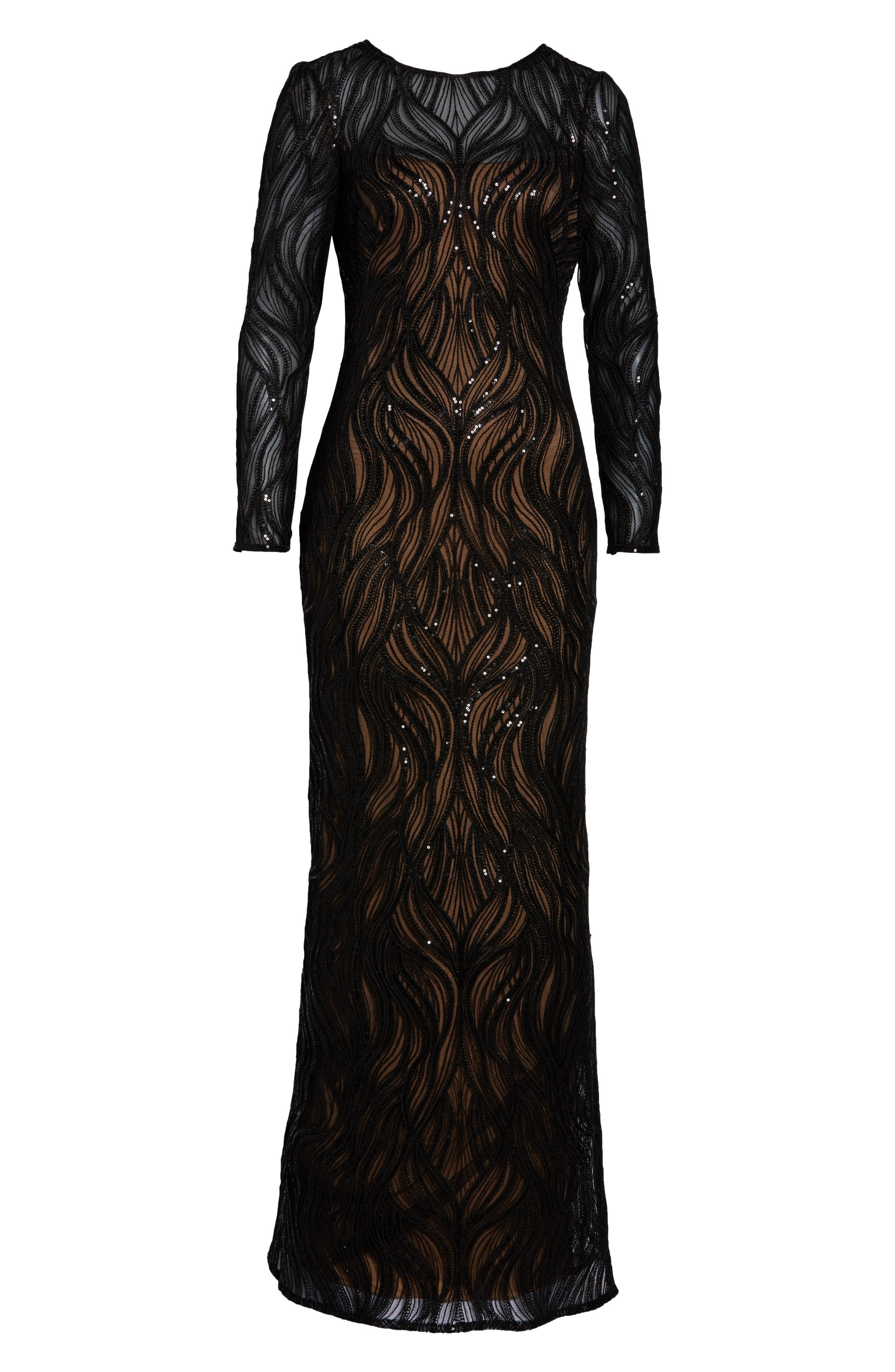 TADASHI SHOJI, Long Sleeve Sequined Mesh Evening Dress, Alternate thumbnail 7, color, 001