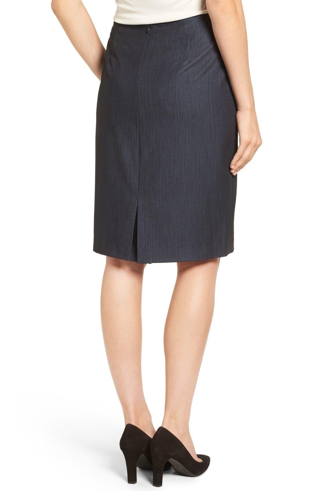 ANNE KLEIN, Stretch Woven Suit Skirt, Alternate thumbnail 2, color, INDIGO TWILL