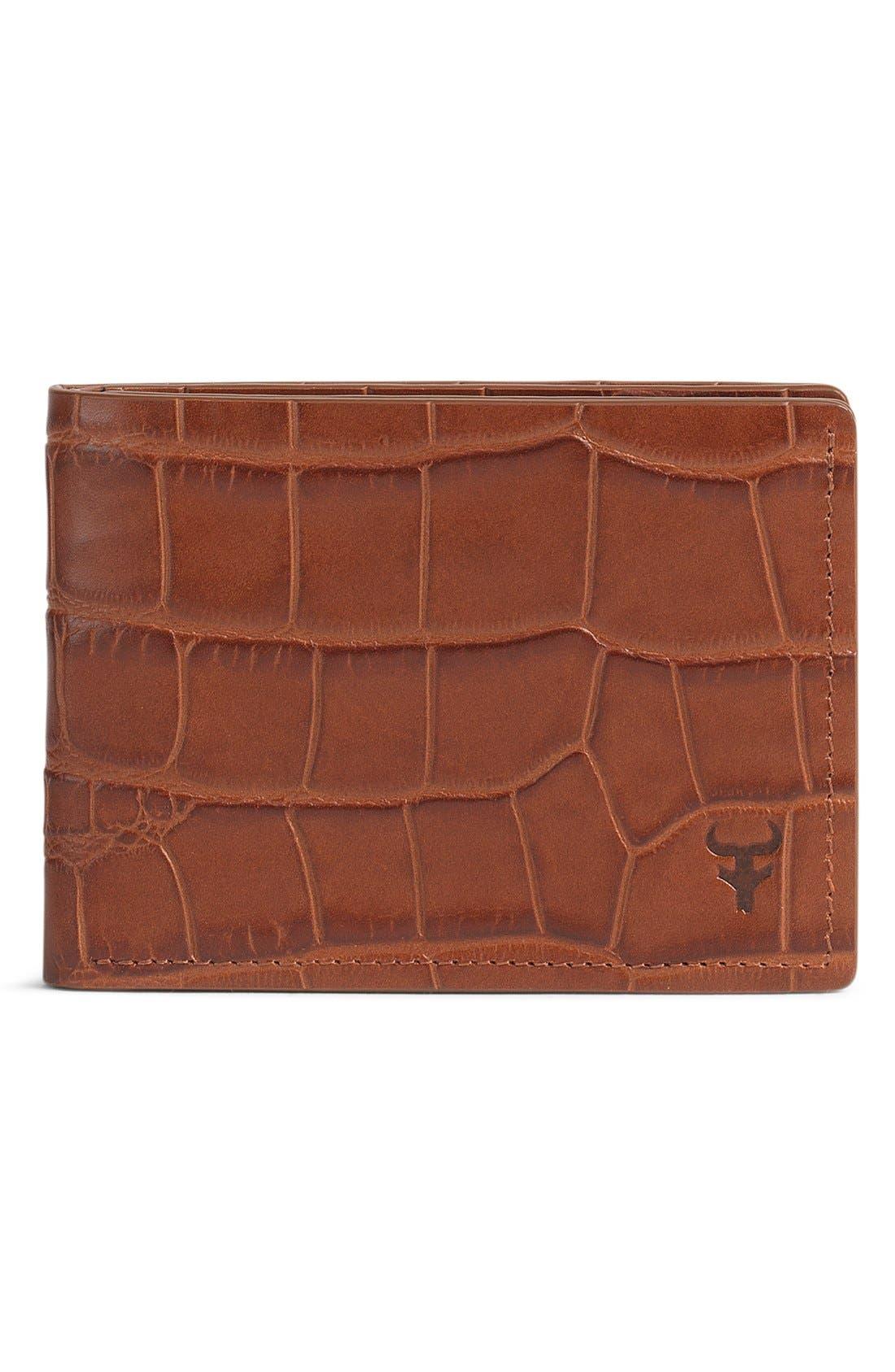 TRASK, 'Jackson' Super Slim Leather Wallet, Main thumbnail 1, color, SCOTCH