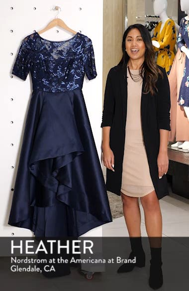 Sequin Lace High/Low Evening Dress, sales video thumbnail